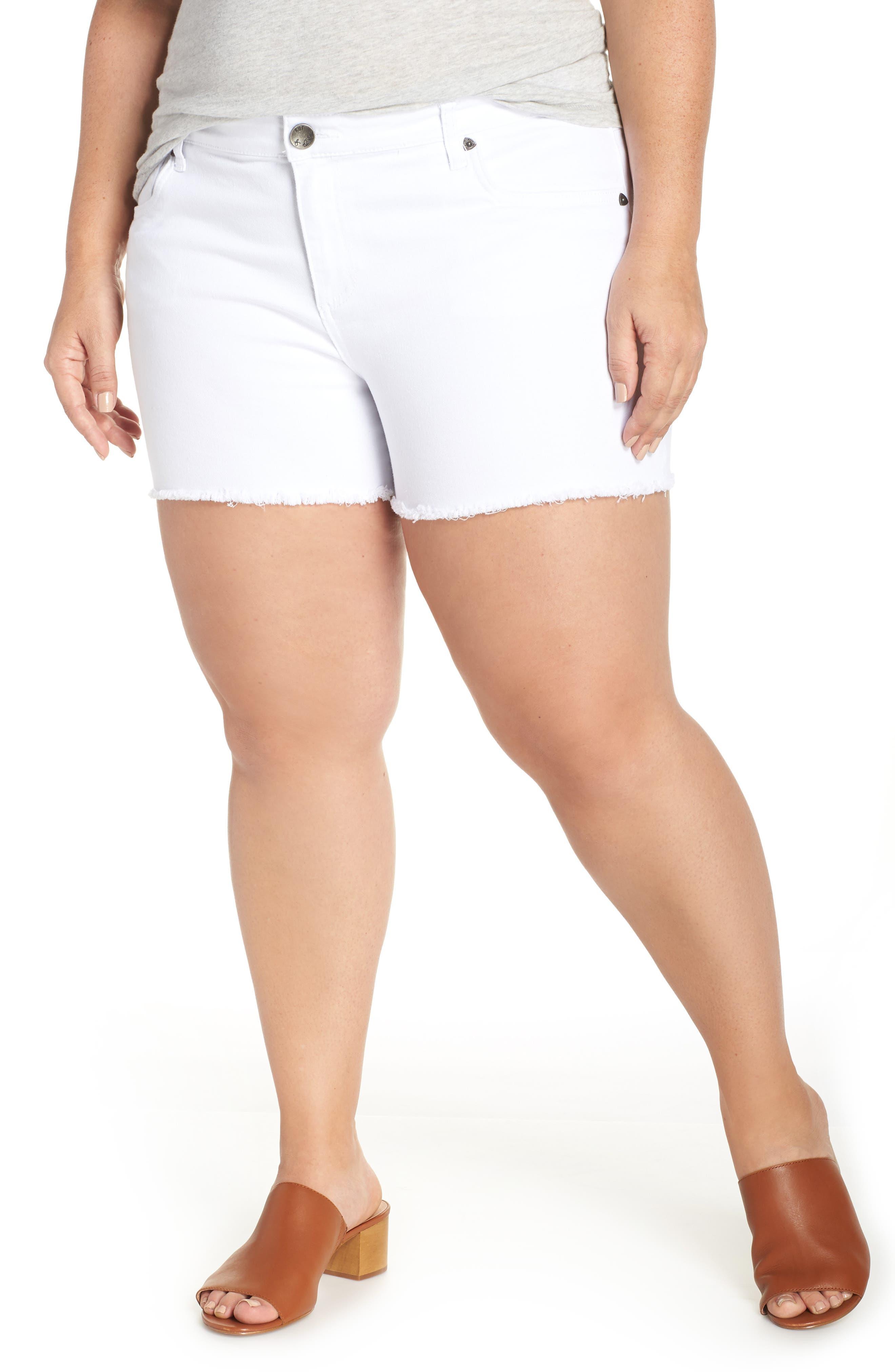 Gidget Raw Hem Shorts,                             Alternate thumbnail 2, color,                             OPTIC WHITE