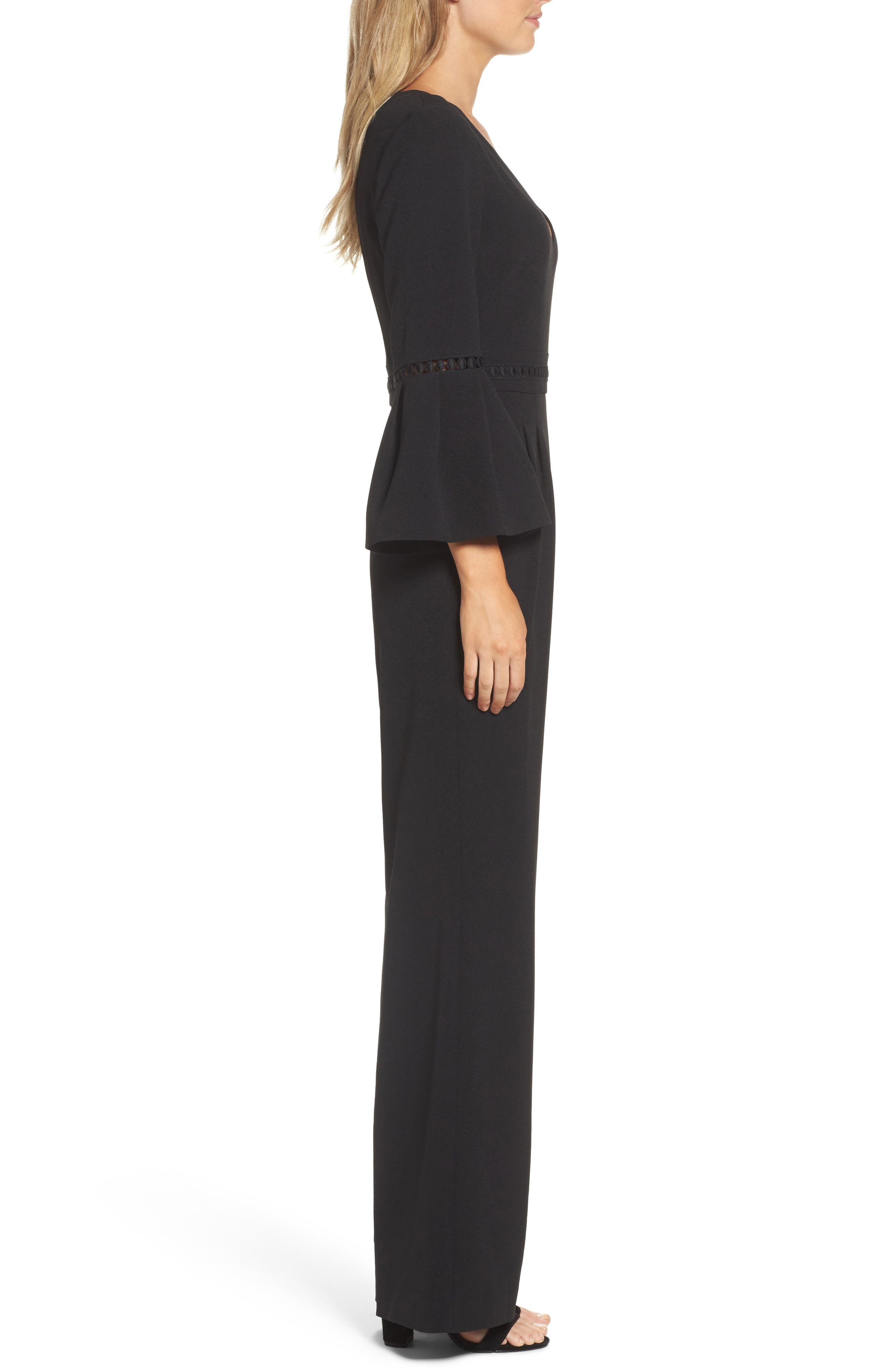 Bell Sleeve Jumpsuit,                             Alternate thumbnail 3, color,                             BLACK