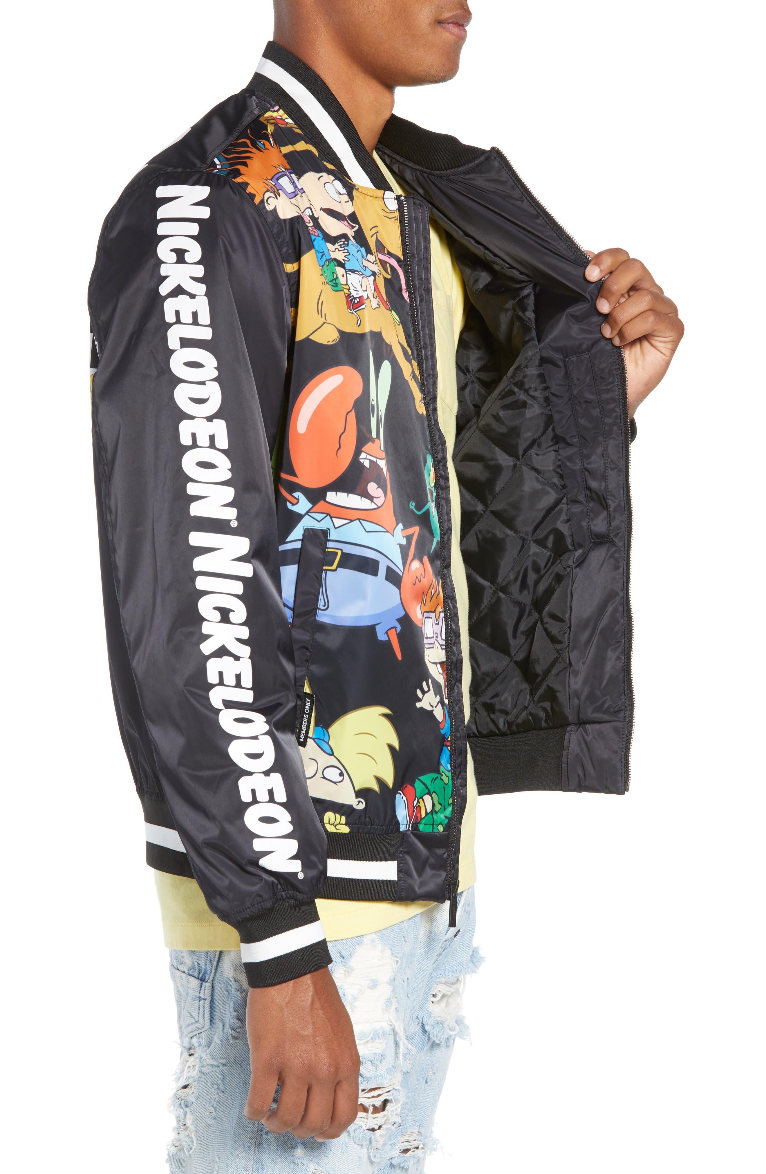 Mashup Nickelodeon Bomber Jacket,                             Alternate thumbnail 3, color,                             BLACK