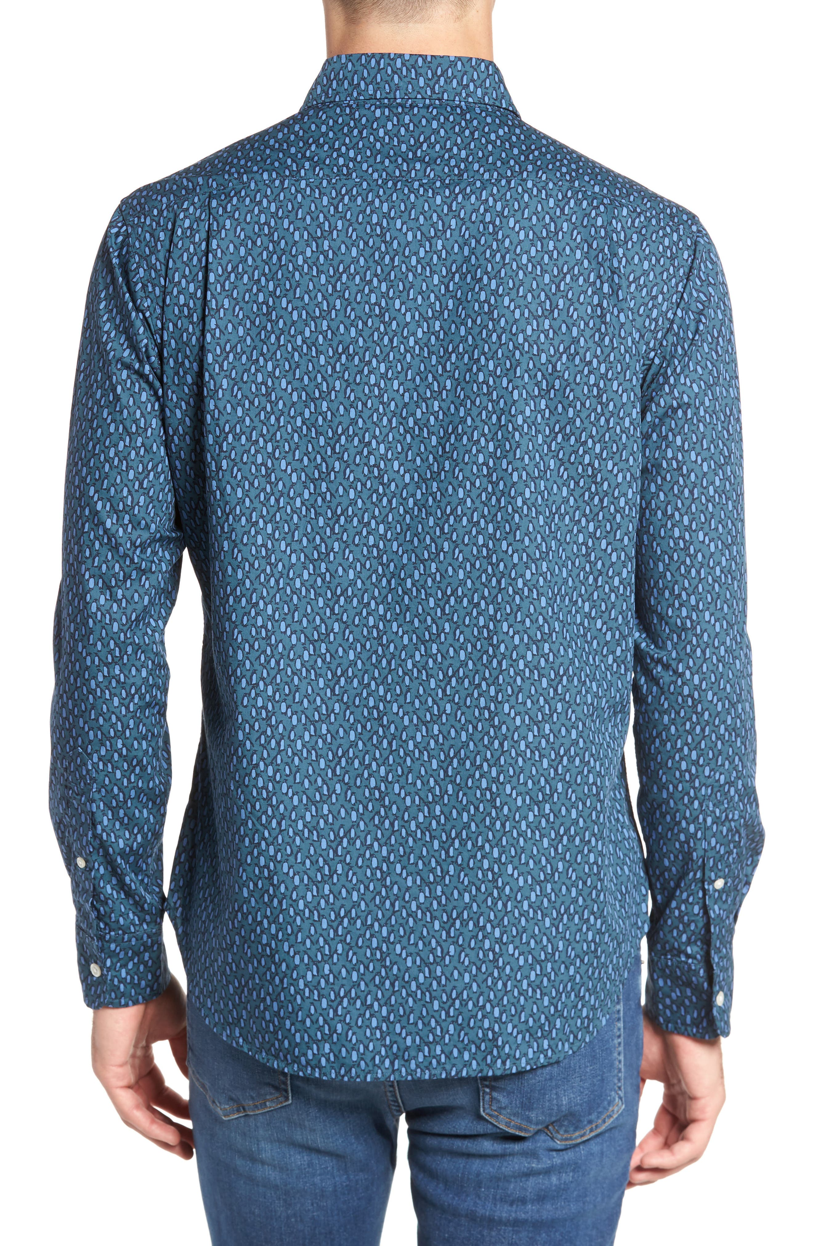 Slim Fit Washed Penguin Print Sport Shirt,                             Alternate thumbnail 2, color,