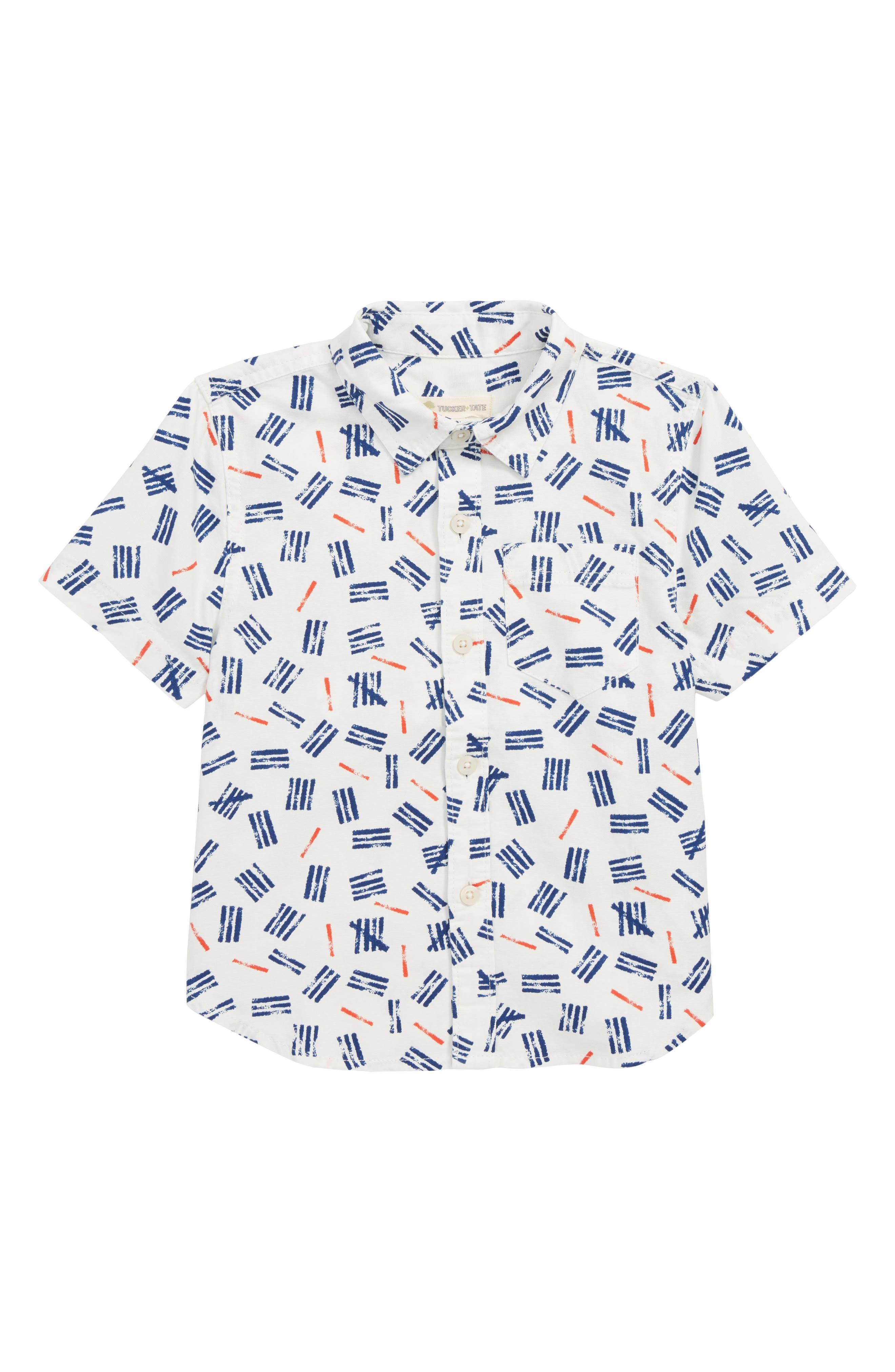 Print Woven Shirt,                             Main thumbnail 1, color,                             IVORY EGRET MARKS