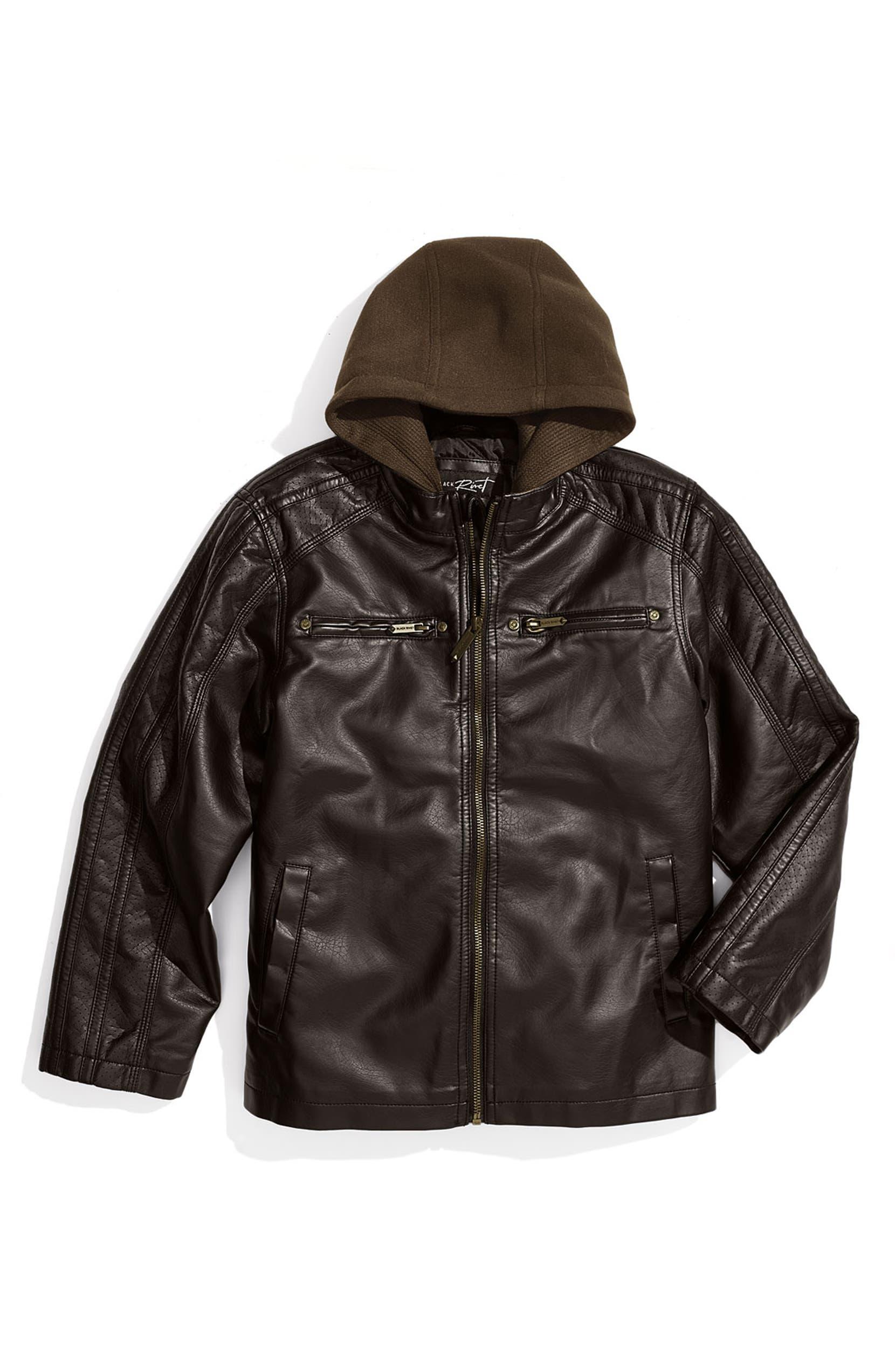 825dcb9dc725 Black Rivet Faux Leather Moto Jacket (Big Boys)