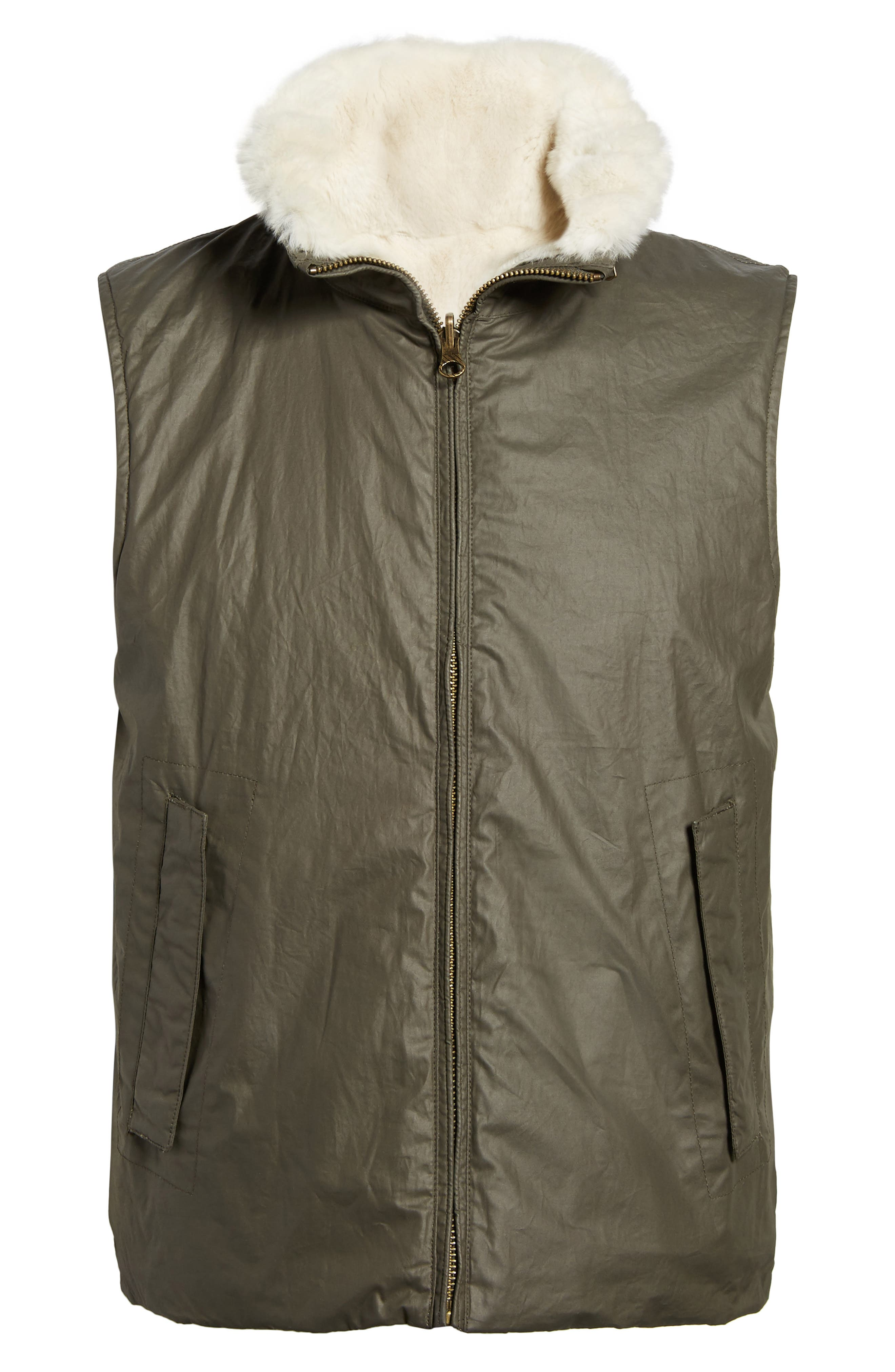 Water-Resistant Genuine Rabbit Fur Lined Vest,                             Alternate thumbnail 5, color,