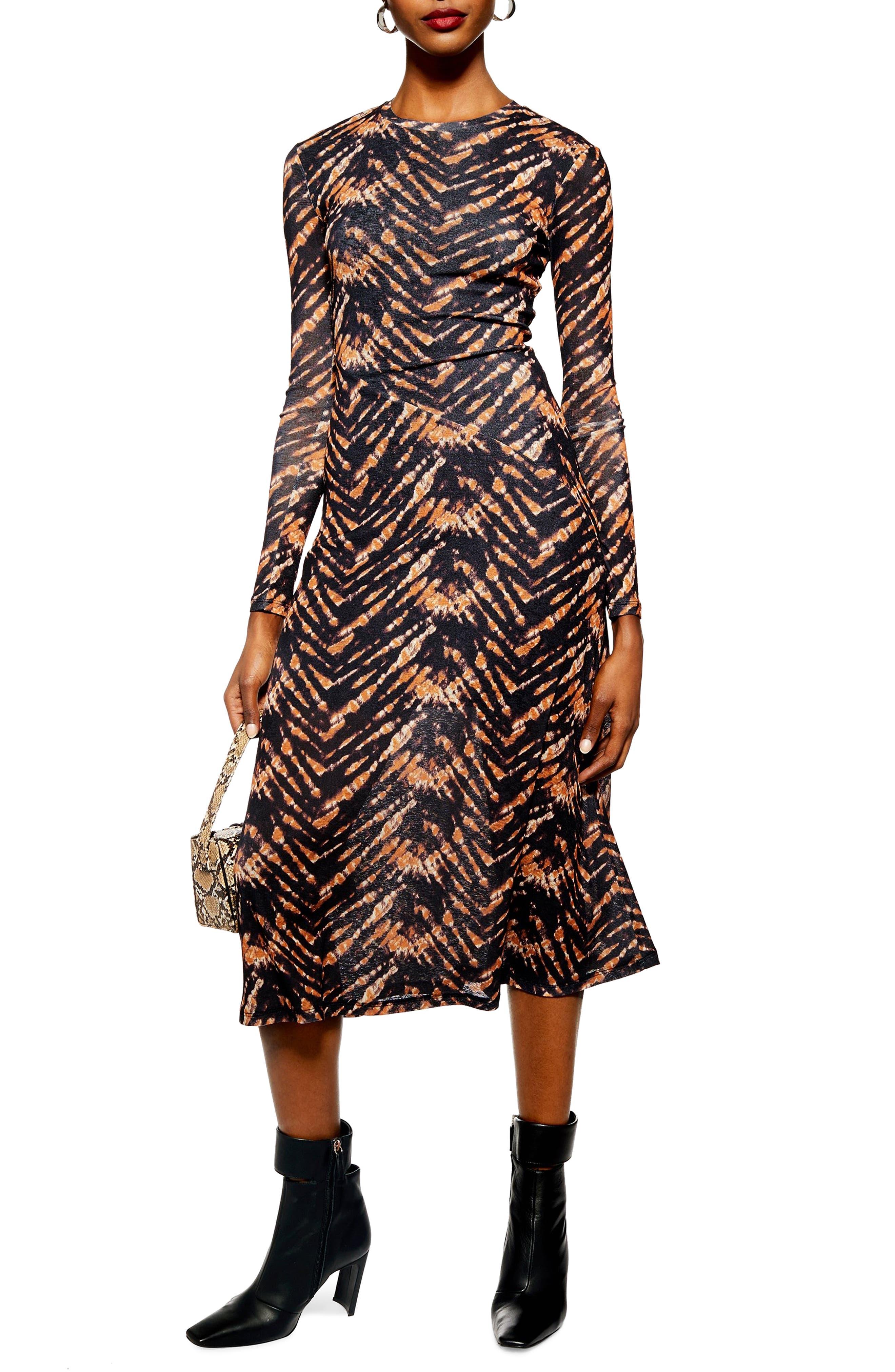 TOPSHOP Tie Dye Mesh Midi Dress, Main, color, BLACK MULTI
