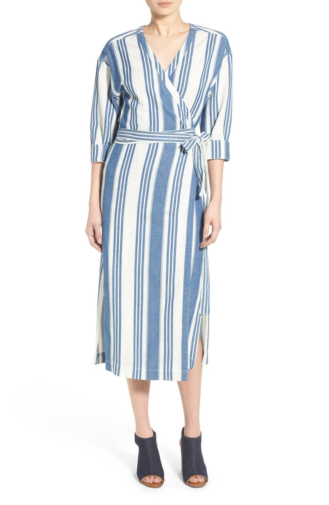 'Linn Stripe' Wrap Midi Dress,                             Main thumbnail 1, color,                             400