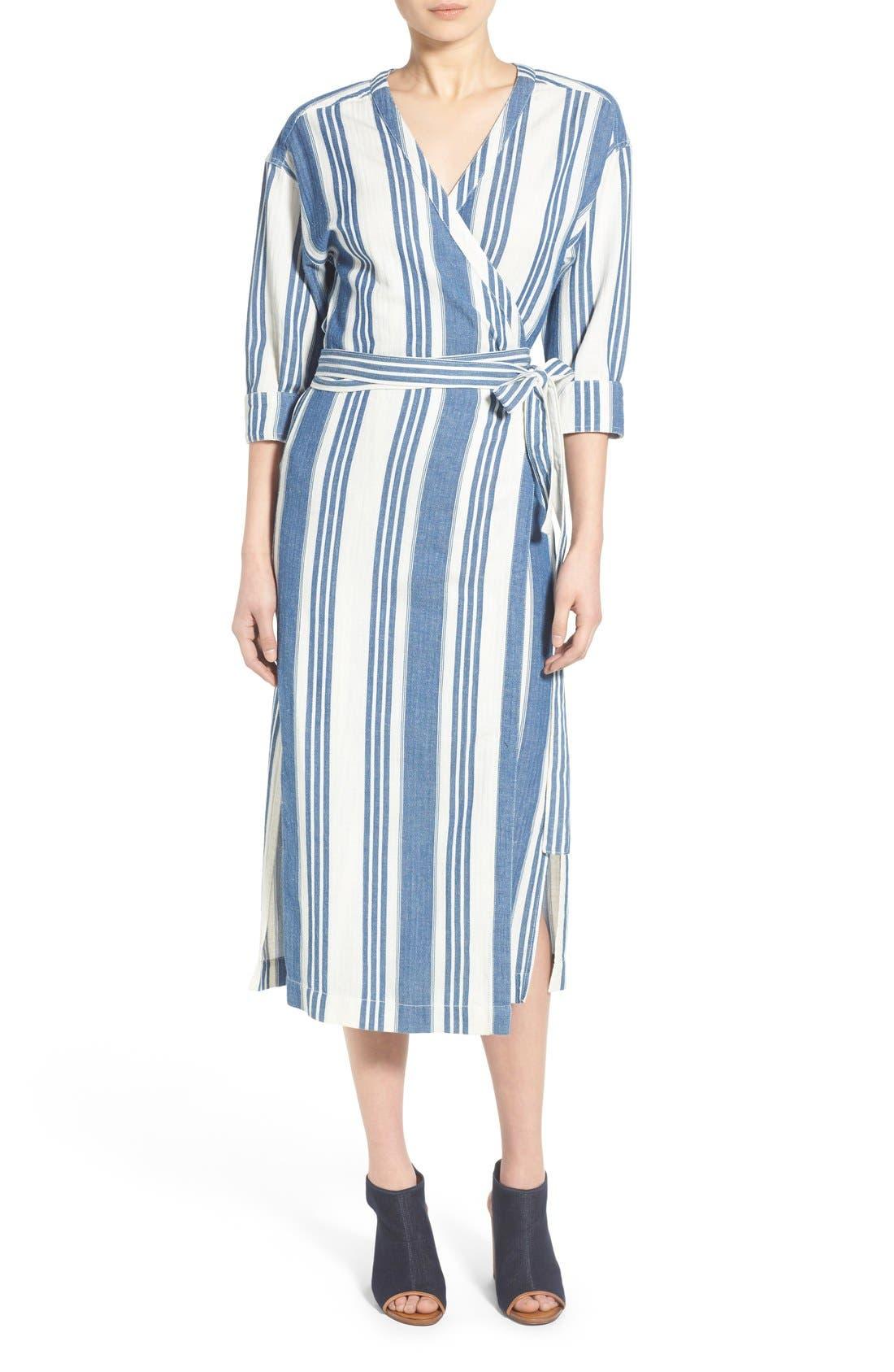 'Linn Stripe' Wrap Midi Dress, Main, color, 400
