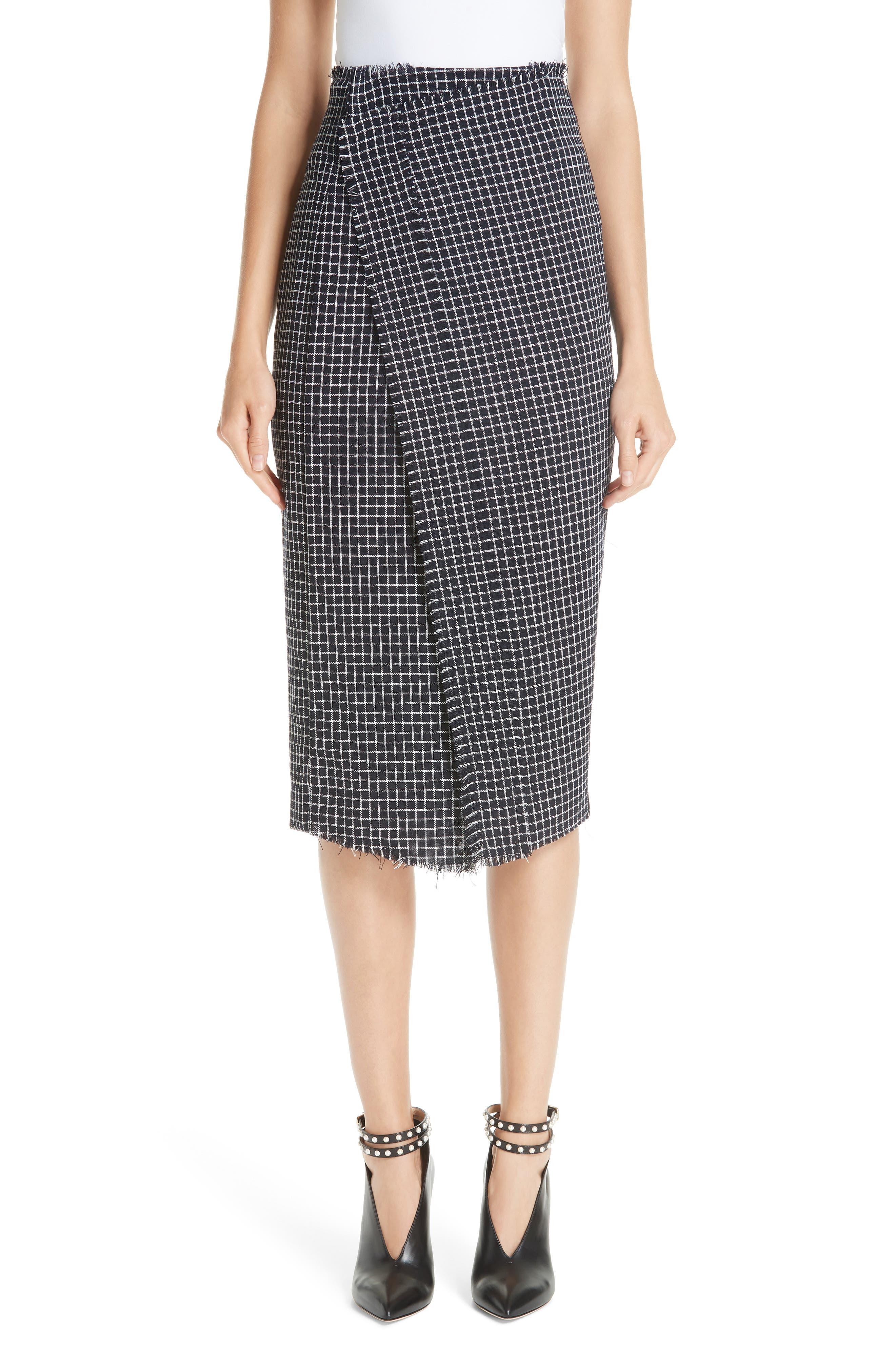 JASON WU COLLECTION,                             Wool Check Skirt,                             Main thumbnail 1, color,                             001