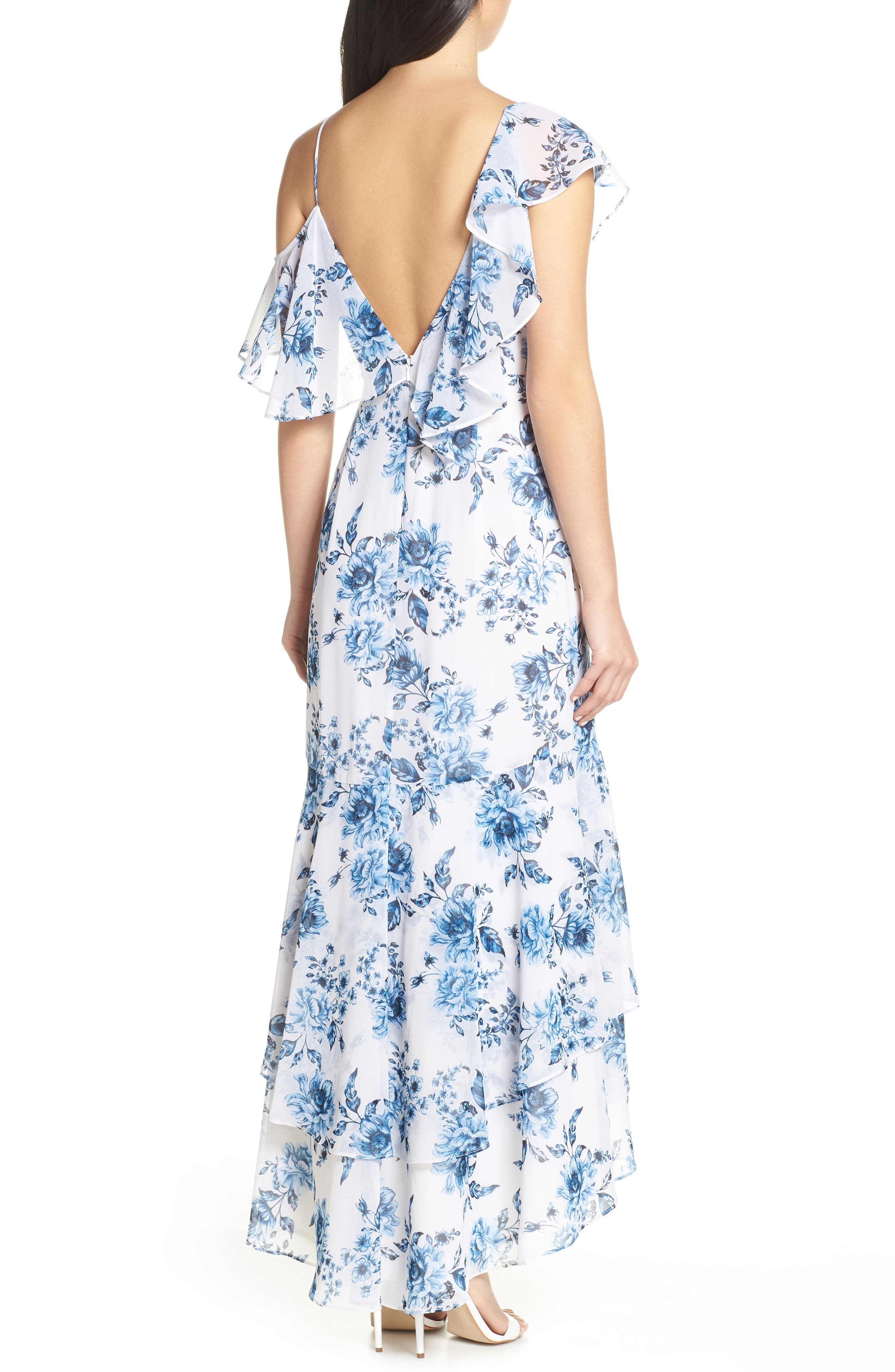 Elanor Ruffle Faux Wrap Maxi Dress,                             Alternate thumbnail 2, color,                             BLUE TOILE FLORAL