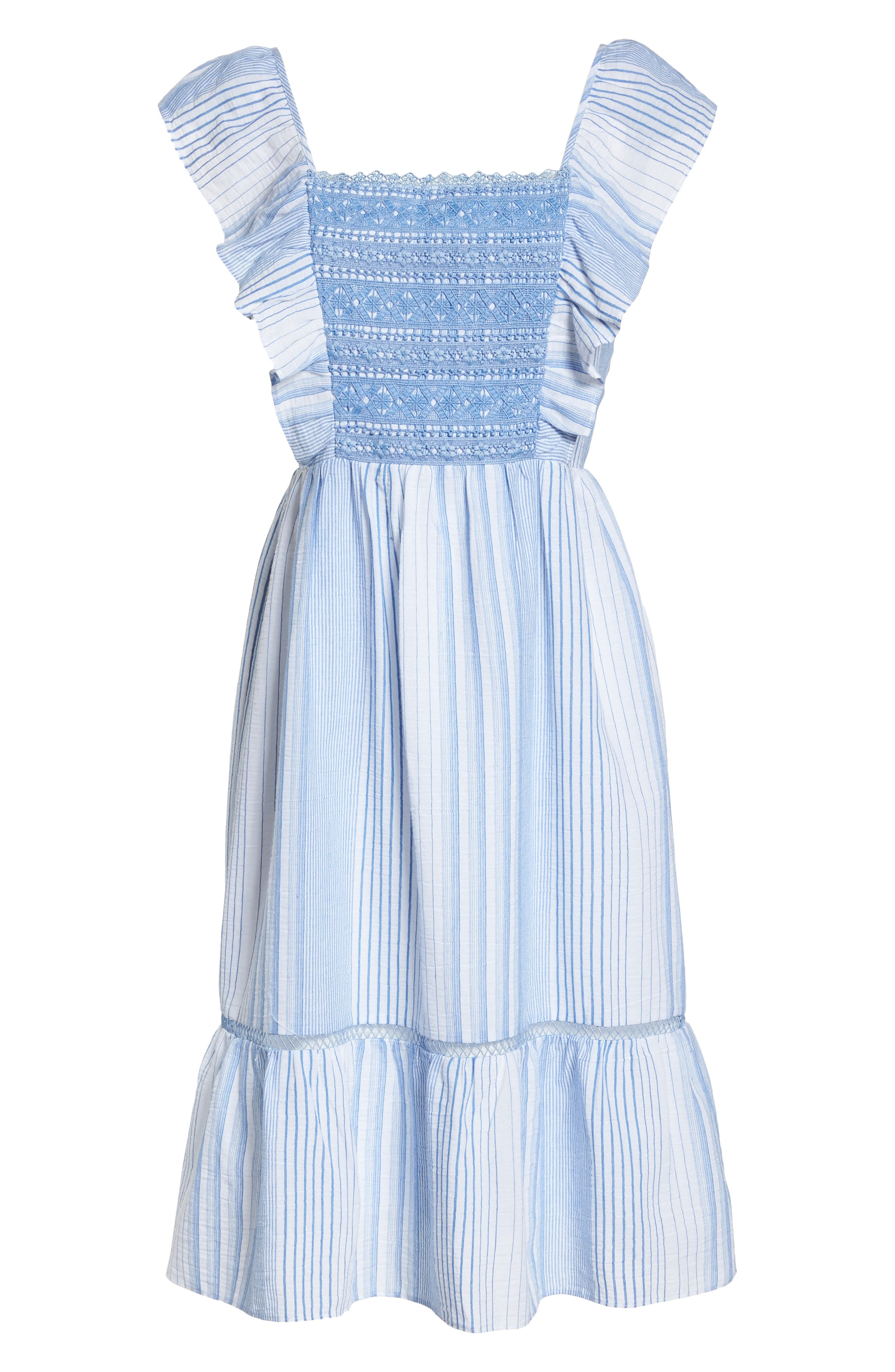 Spencer Stripe Ruffle & Lace Sundress,                             Alternate thumbnail 7, color,                             400