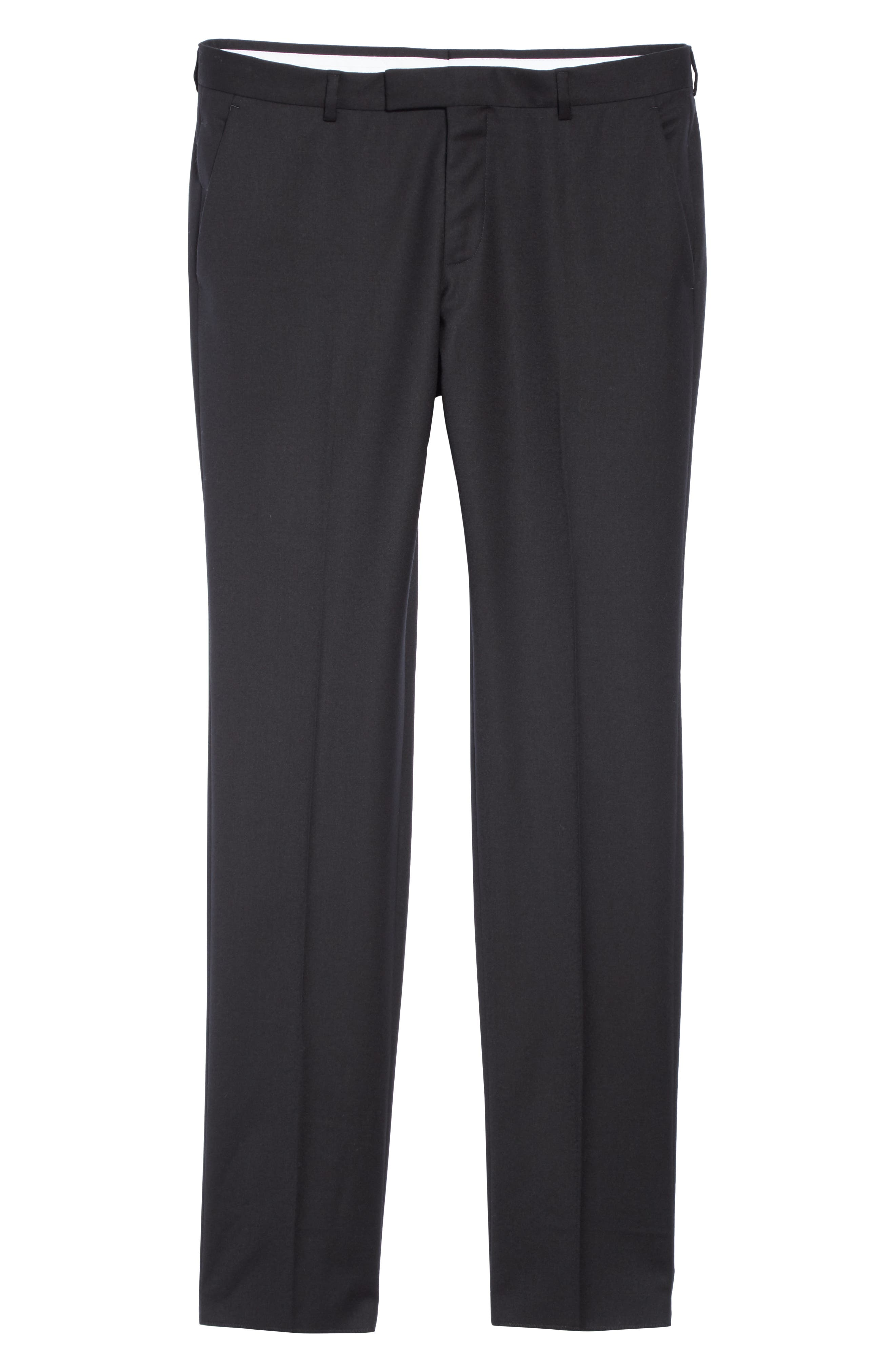Flat Front Solid Stretch Wool Trousers,                             Alternate thumbnail 6, color,                             BLACK