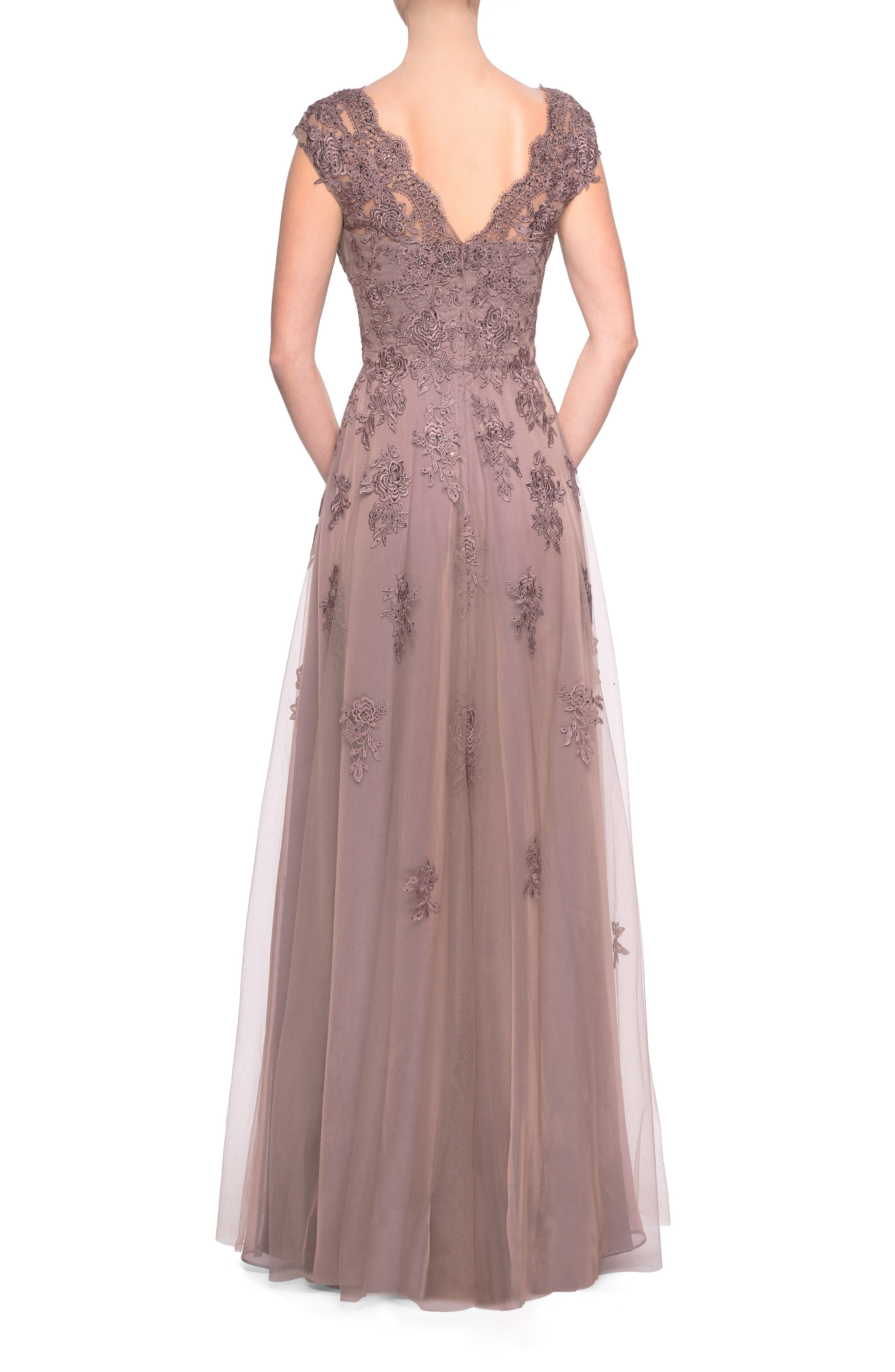 Tulle & Lace Evening Dress,                             Alternate thumbnail 2, color,                             COCOA