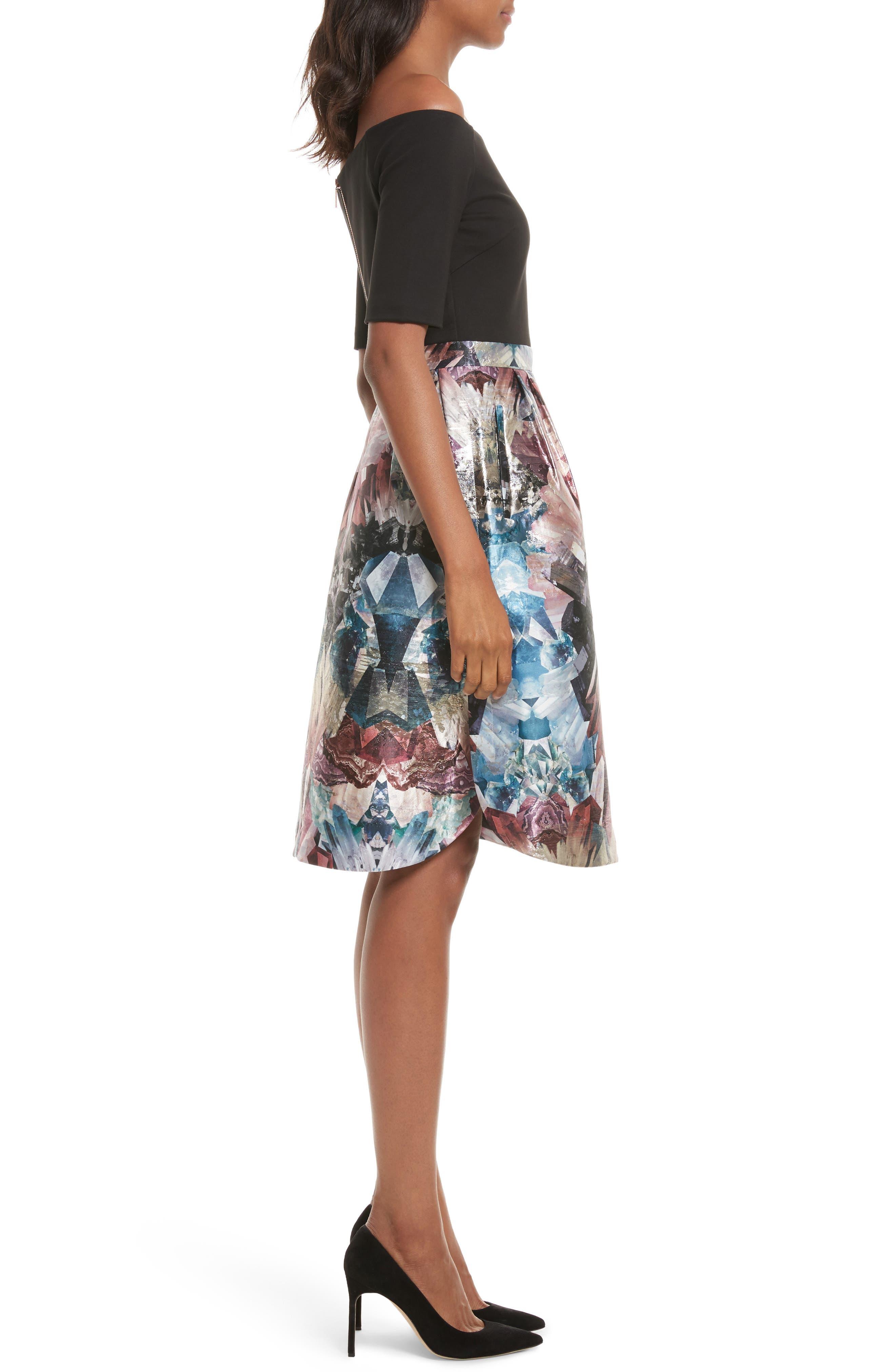 Keris Mirrored Minerals Tulip Fit & Flare Dress,                             Alternate thumbnail 3, color,                             001
