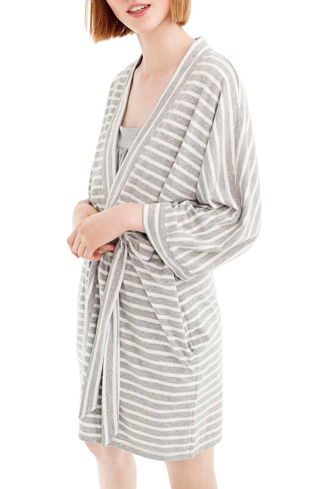 J.CREW,                             Stripe Stretch Cotton Robe,                             Main thumbnail 1, color,                             HTHR GRAY IVORY