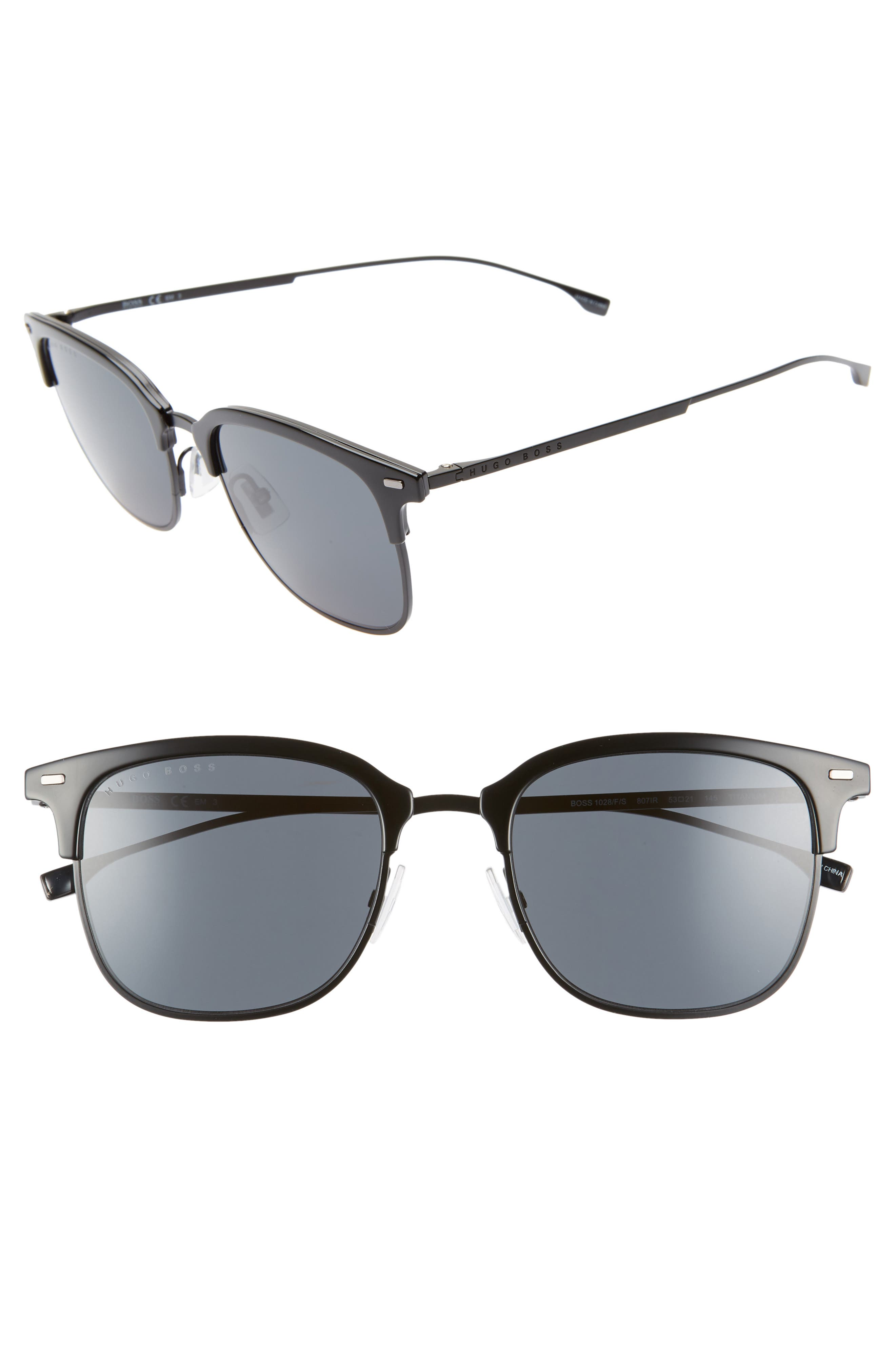 53mm Special Fit Semi Rimless Sunglasses,                             Main thumbnail 1, color,                             BLACK