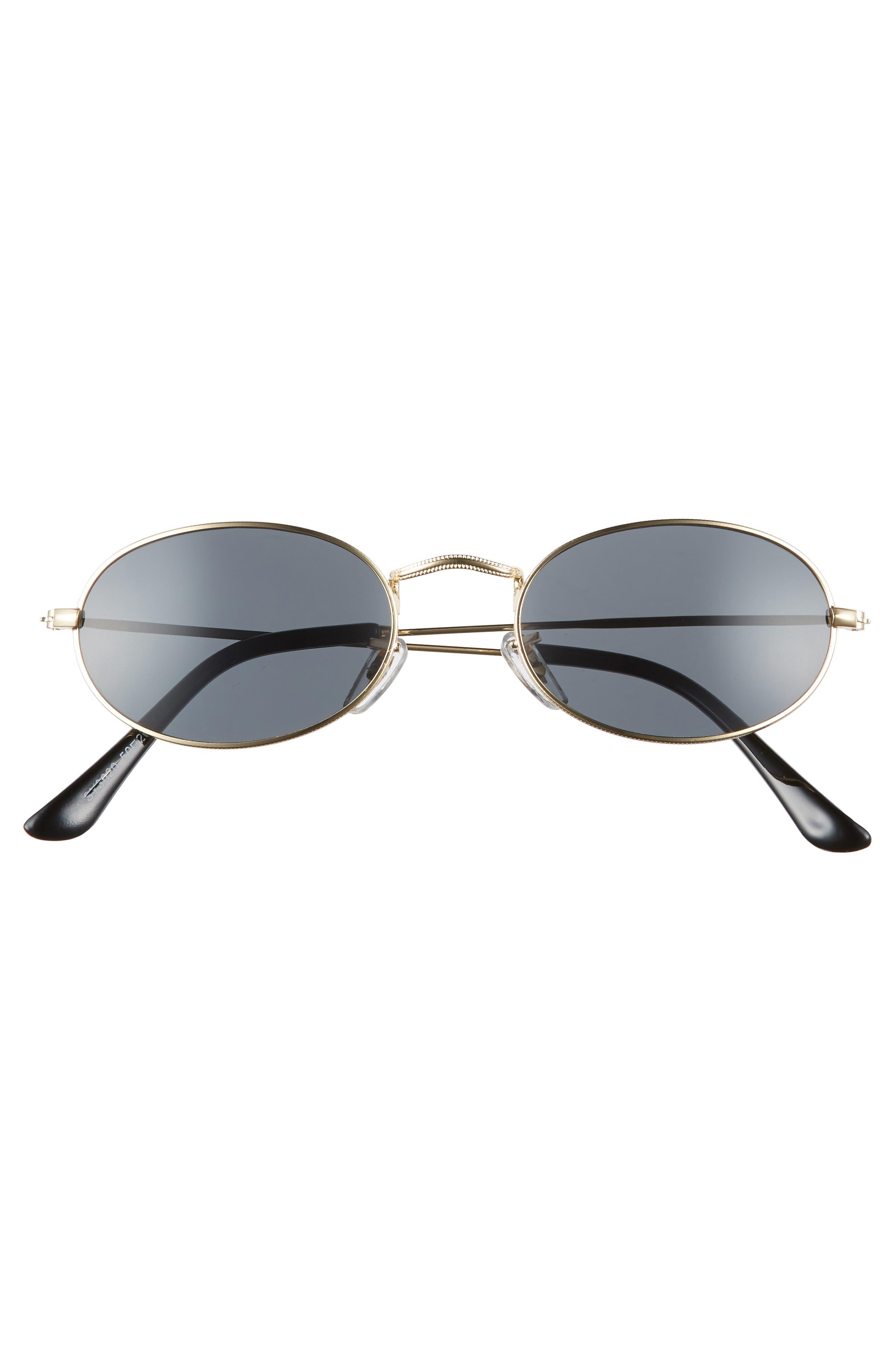 50mm Round Sunglasses,                             Alternate thumbnail 3, color,                             GOLD/ BLACK