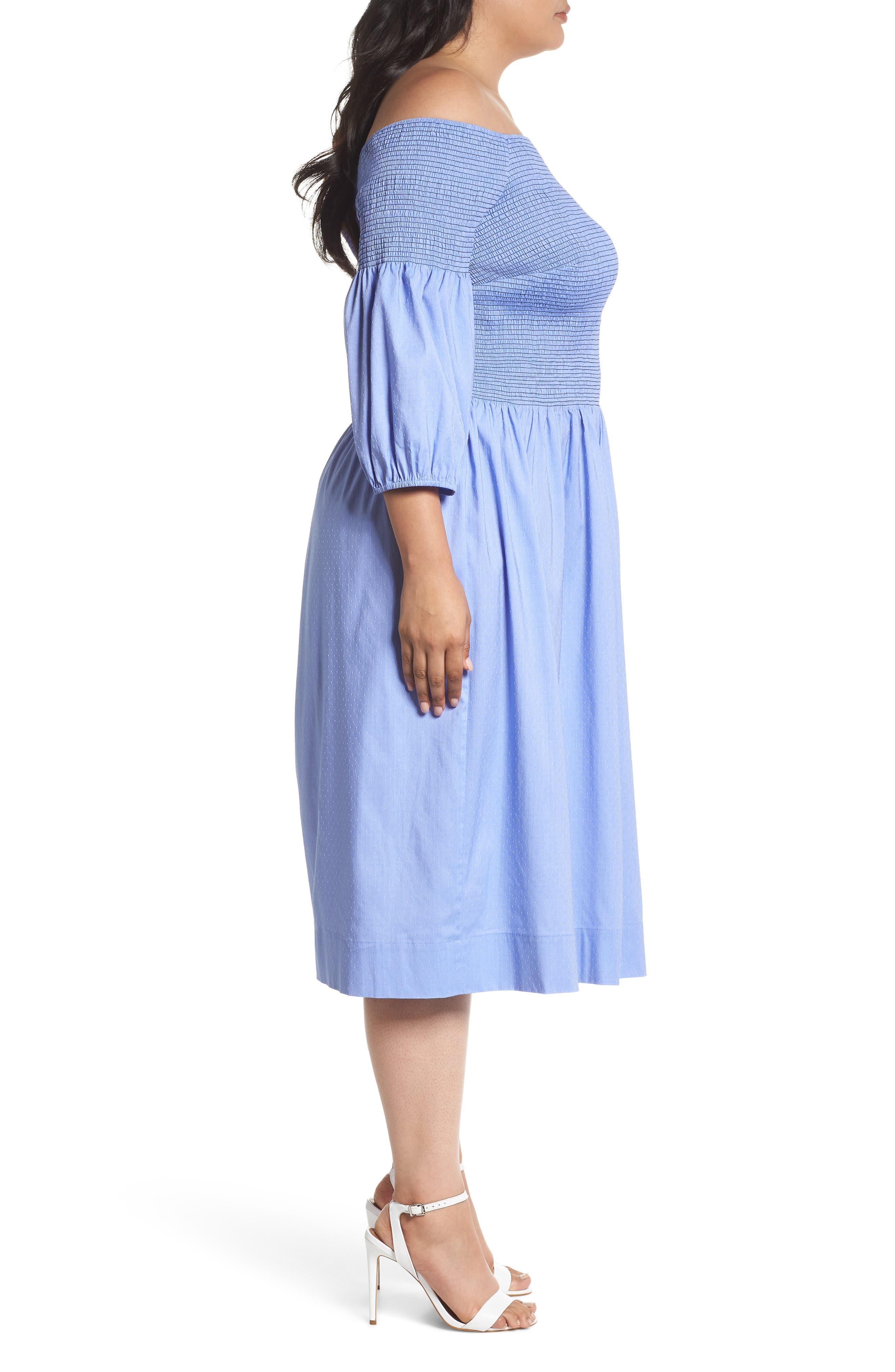 Off the Shoulder Smocked Bodice Midi Dress,                             Alternate thumbnail 3, color,