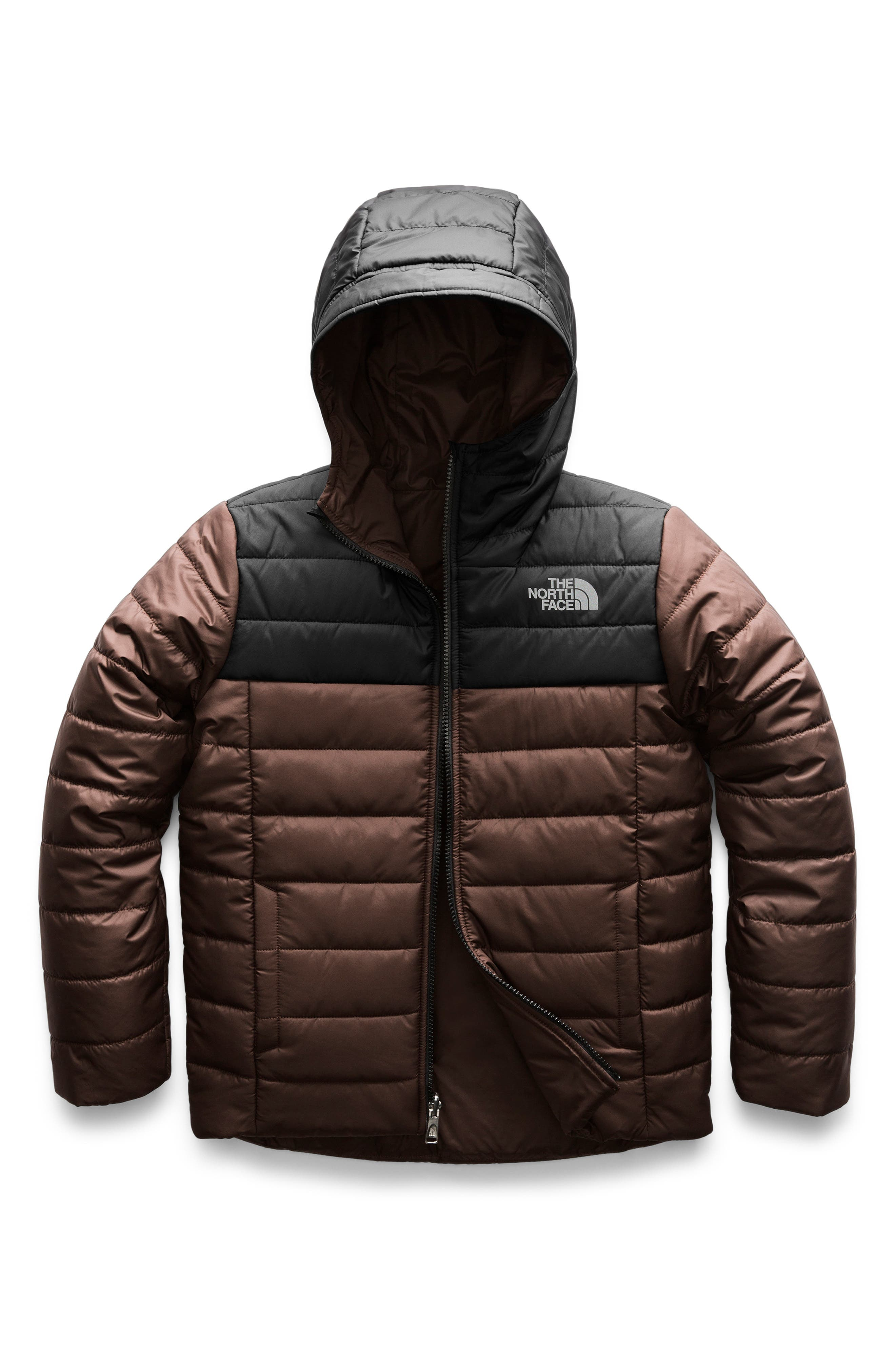 Boys The North Face Perrito Reversible Water Repellent Heetseaker(TM) Insulated Jacket Size L (1416)  Brown