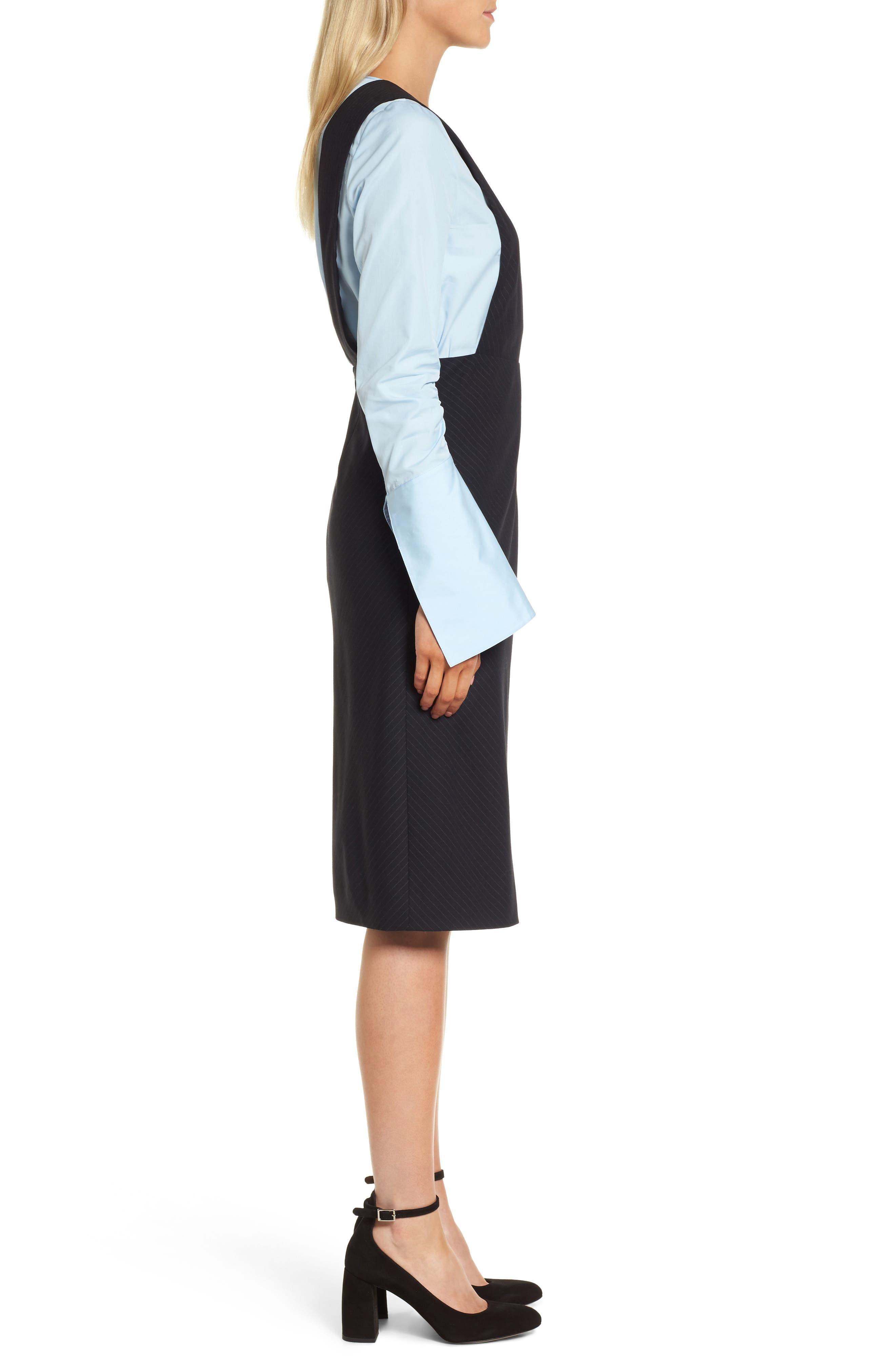 Bias Cut Pinstripe Jumper Dress,                             Alternate thumbnail 3, color,                             401