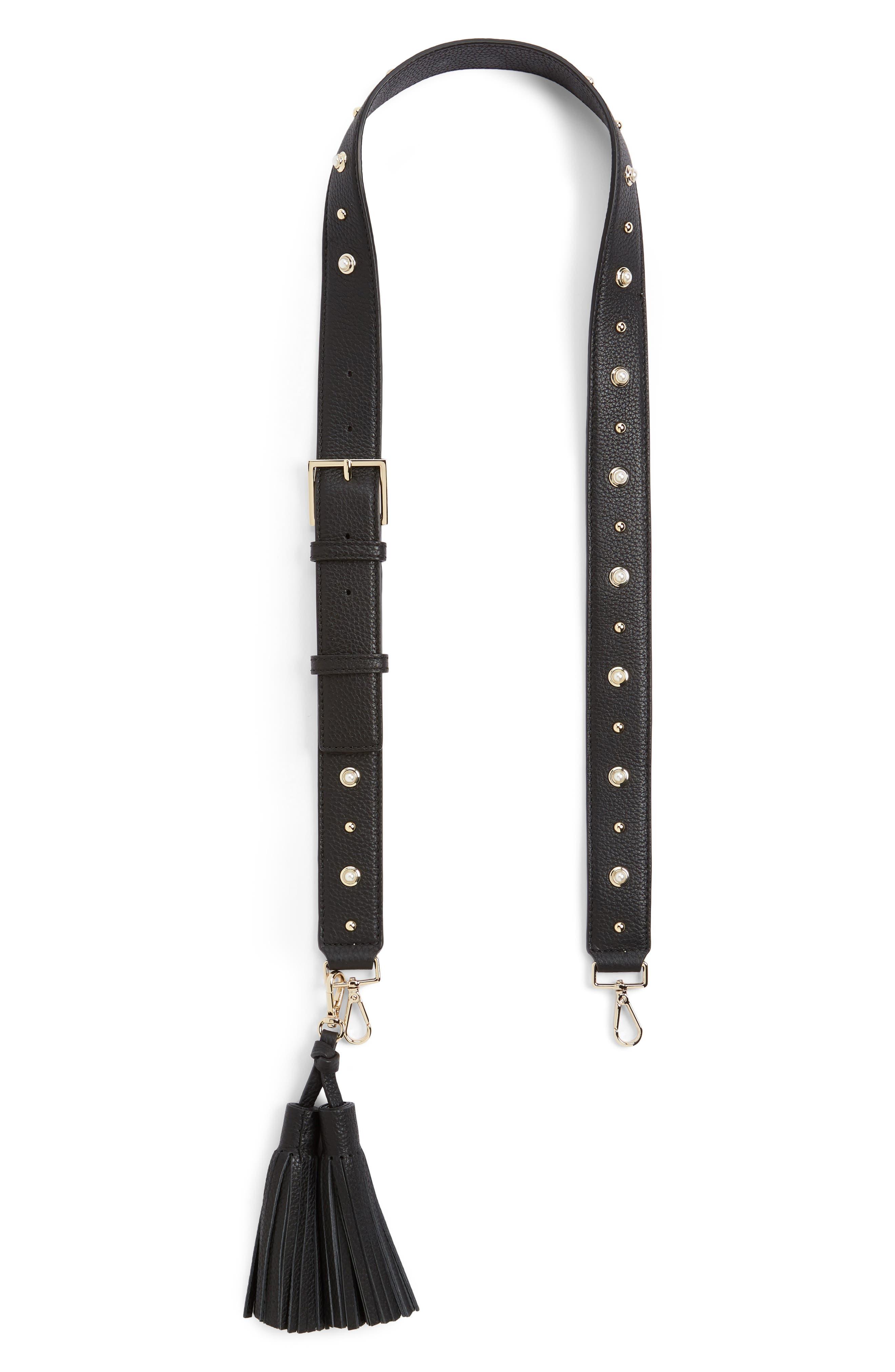 make it mine imitation pearl leather guitar bag strap & tassels,                             Main thumbnail 1, color,                             001