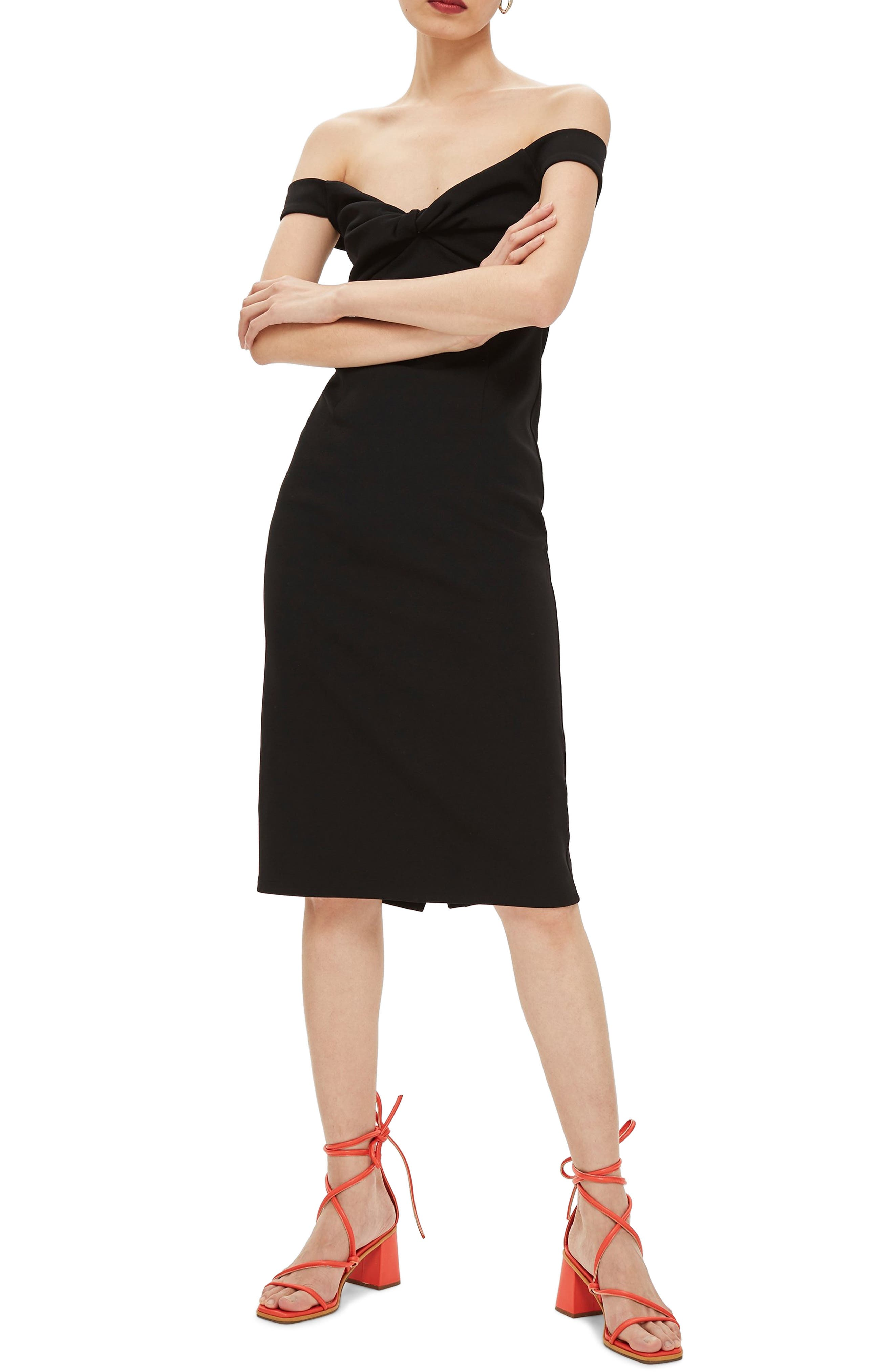 Twist Front Bardot Dress,                             Main thumbnail 1, color,                             BLACK