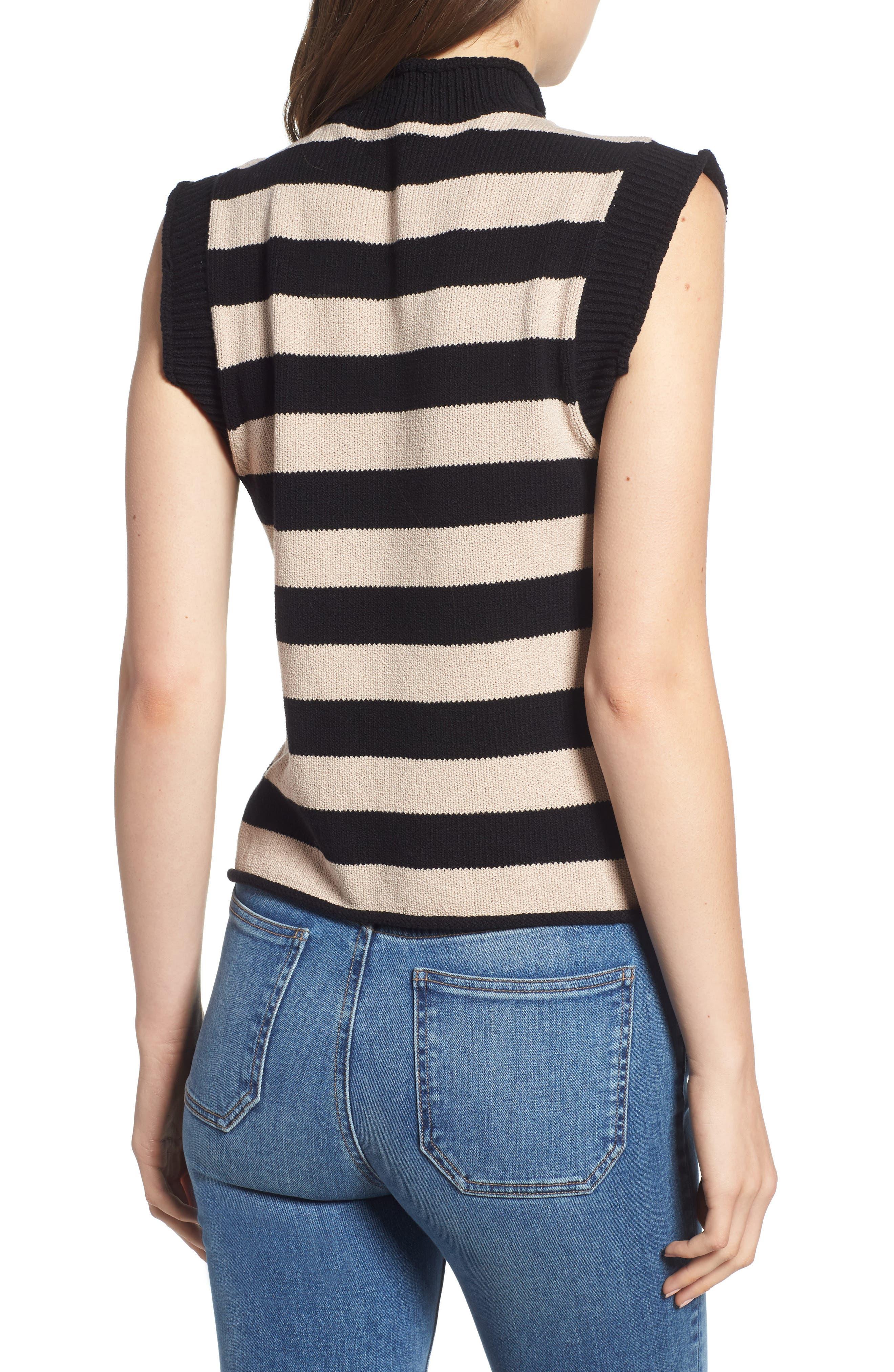 Tenny Stripe Sleeveless Sweater,                             Alternate thumbnail 2, color,                             BLACK CAT / AUTUMN STRIPE