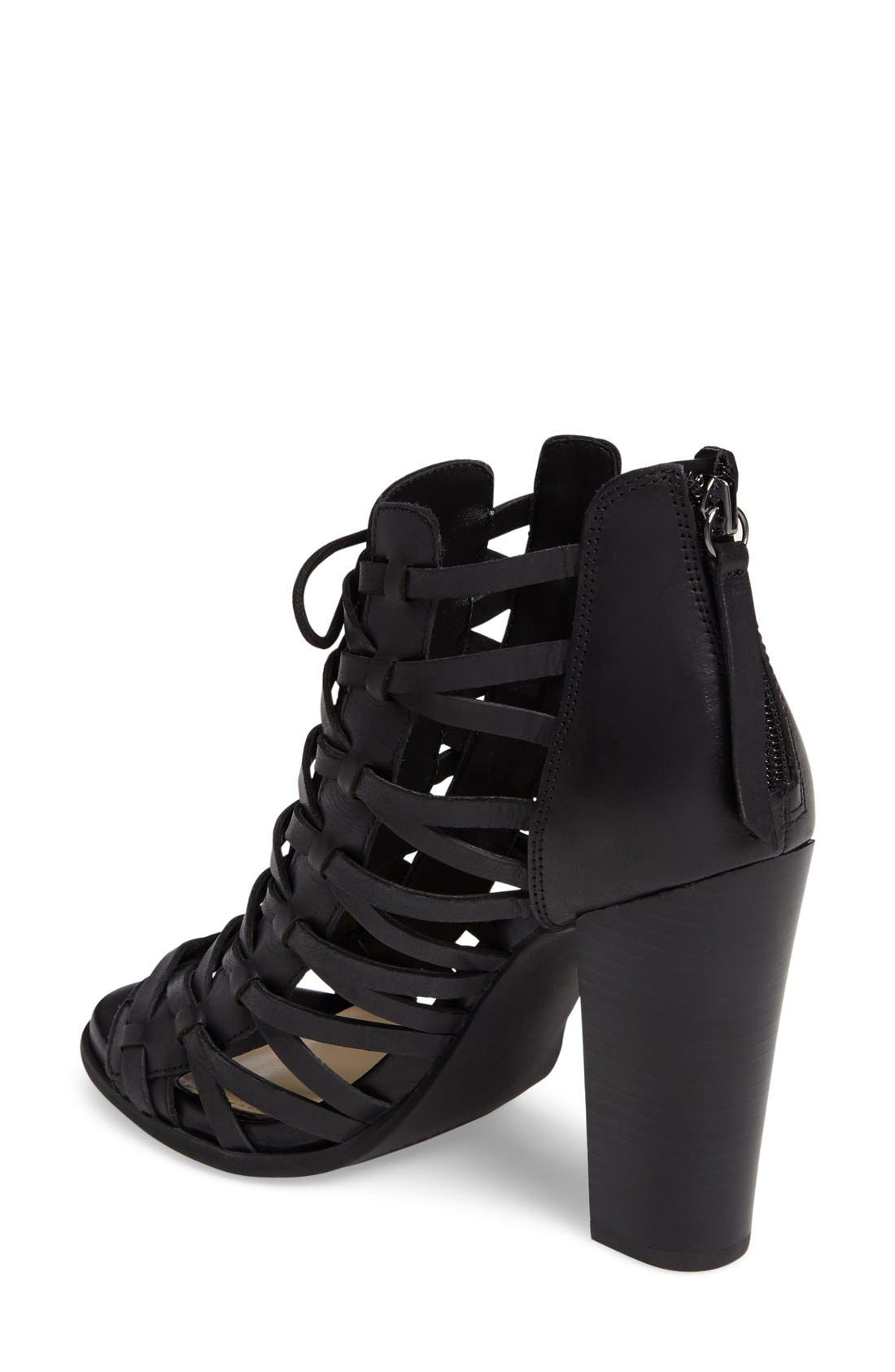 JESSICA SIMPSON,                             Riana Woven Leather Cage Sandal,                             Alternate thumbnail 5, color,                             001