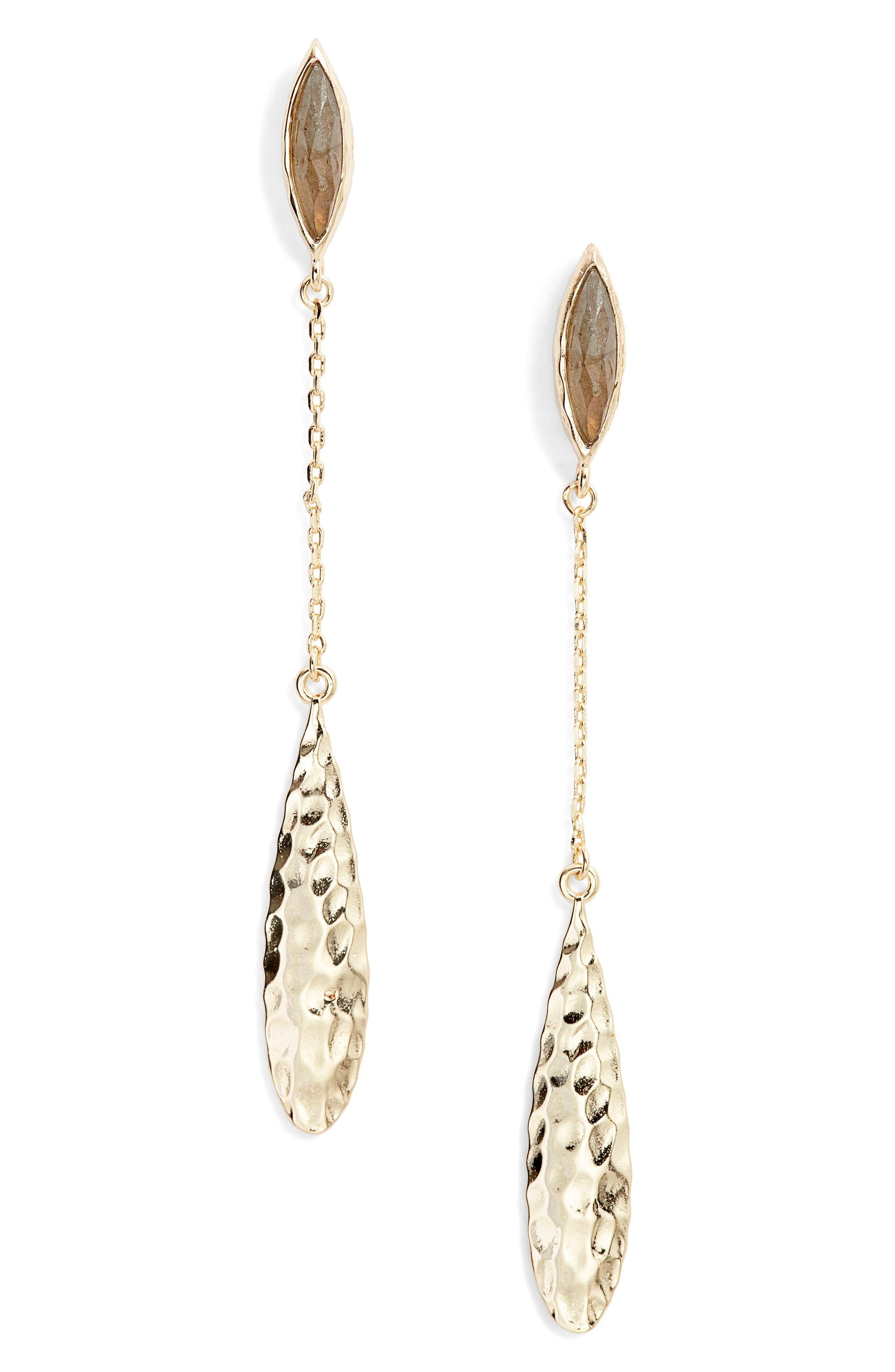 Sliver Labradorite Drop Earrings in Gold/ Labradorite