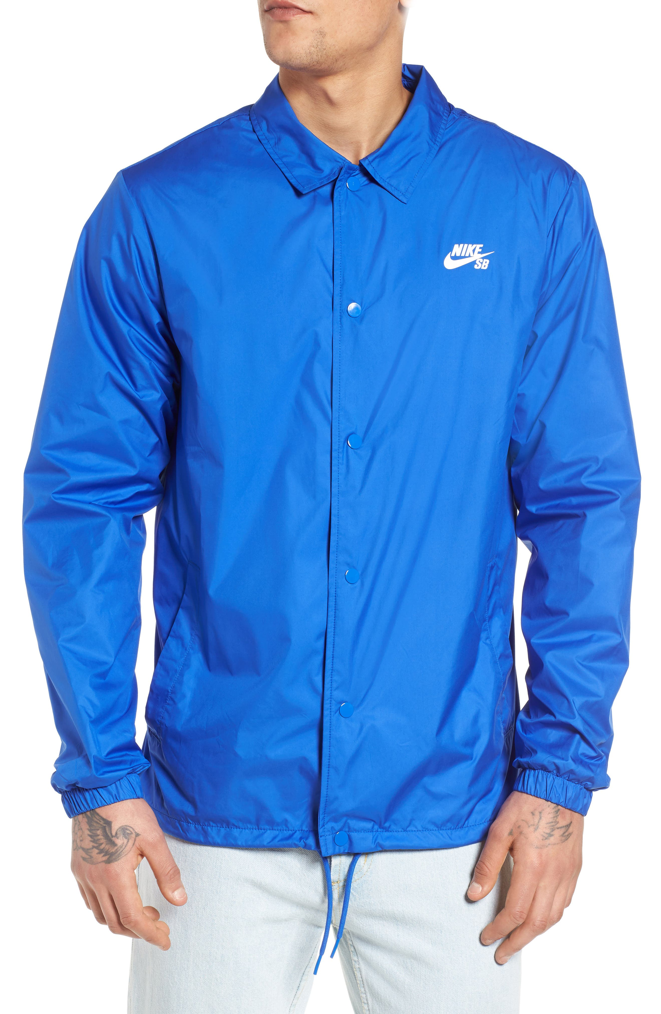 SB Shield Coach's Jacket,                             Alternate thumbnail 4, color,                             HYPER ROYAL/ WHITE