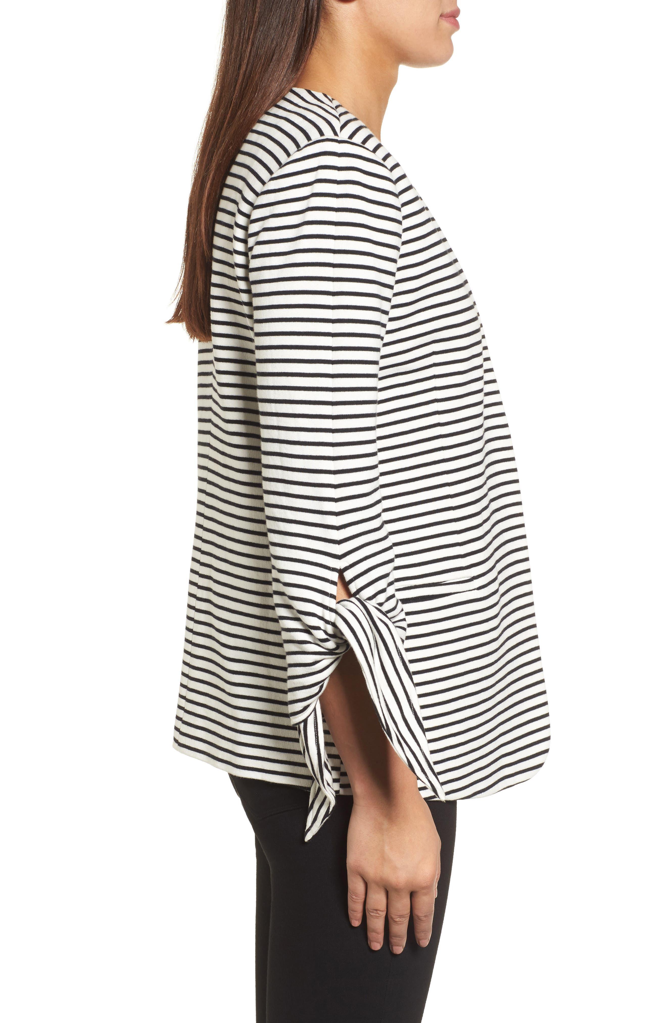 Tie Sleeve Knit Blazer,                             Alternate thumbnail 3, color,                             008