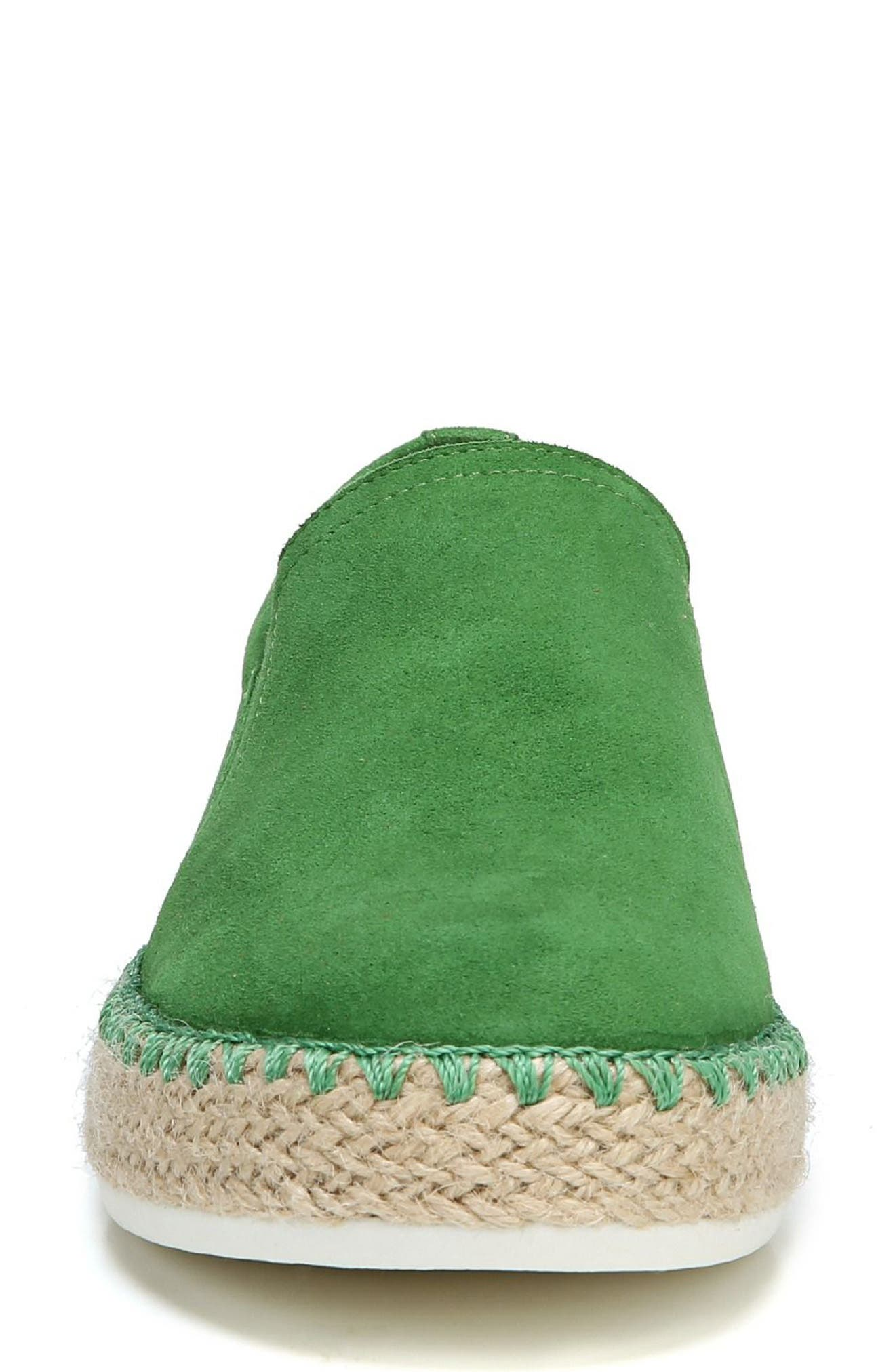 Sunnie Slip-On Sneaker,                             Alternate thumbnail 4, color,                             GREEN SUEDE