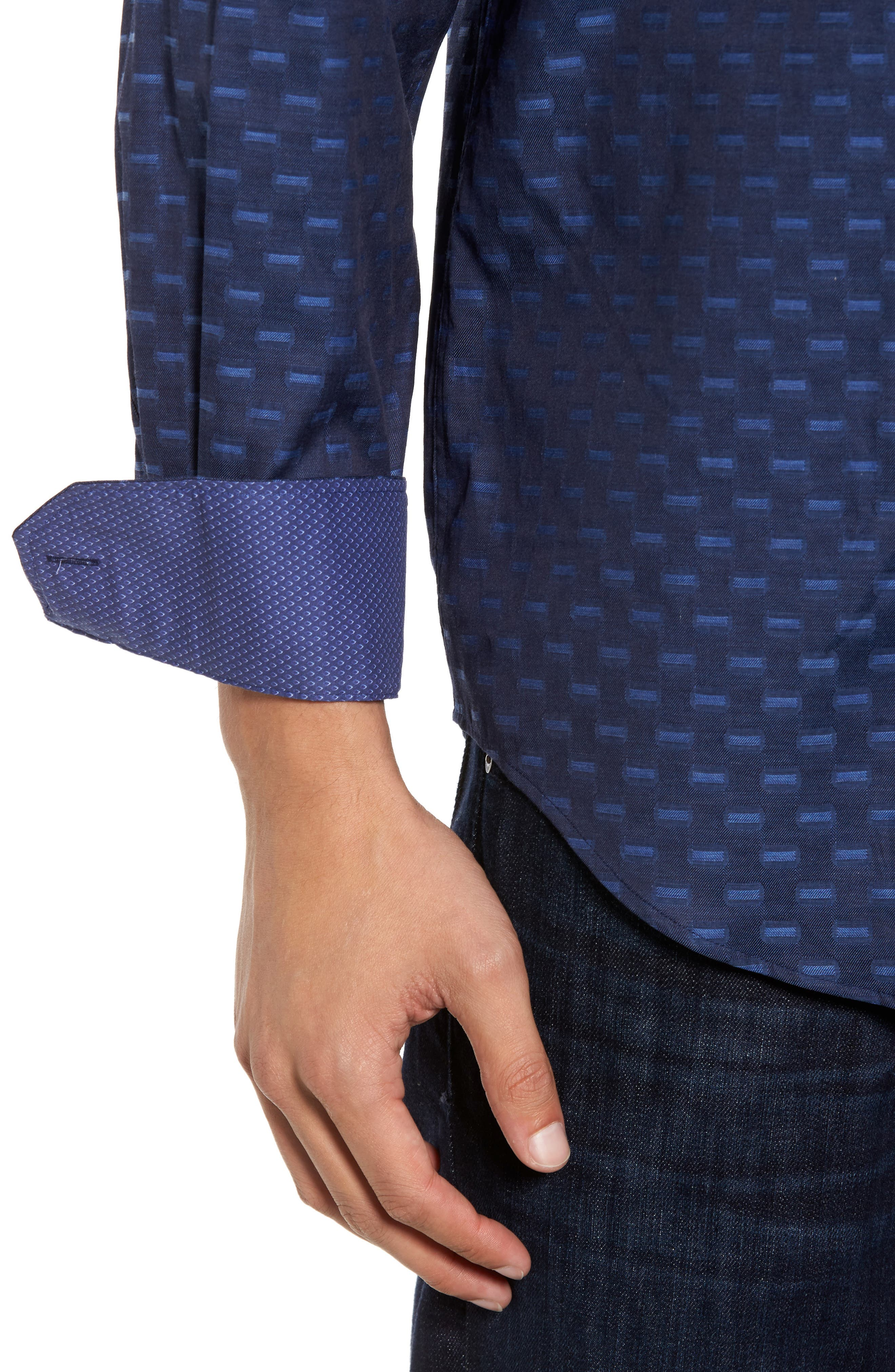 Classic Fit Jacquard Sport Shirt,                             Alternate thumbnail 4, color,                             410