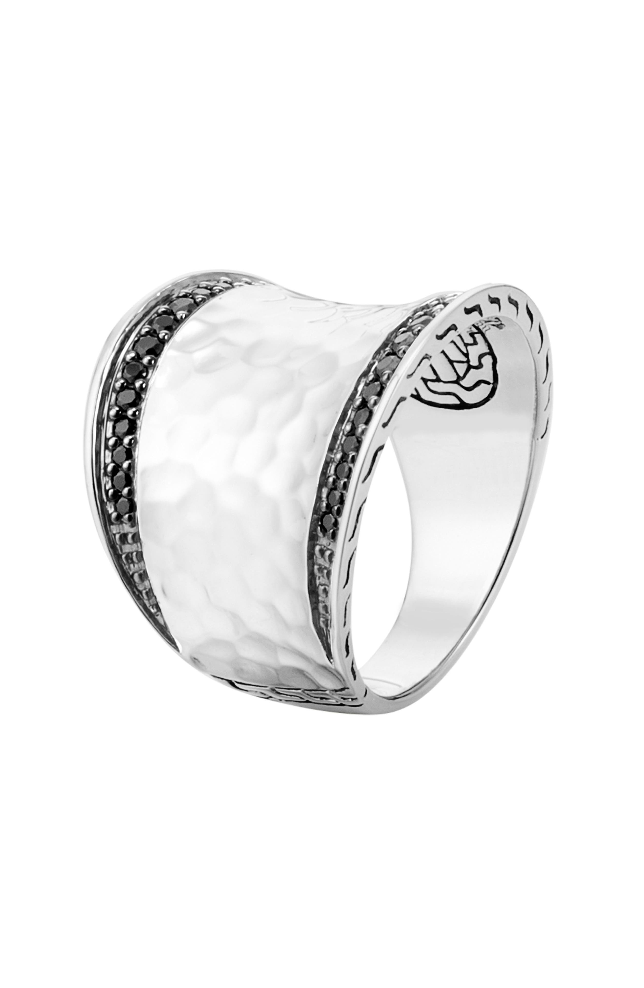 'Classic Chain' Small Saddle Ring,                             Alternate thumbnail 2, color,                             SILVER/ BLACK SAPPHIRE