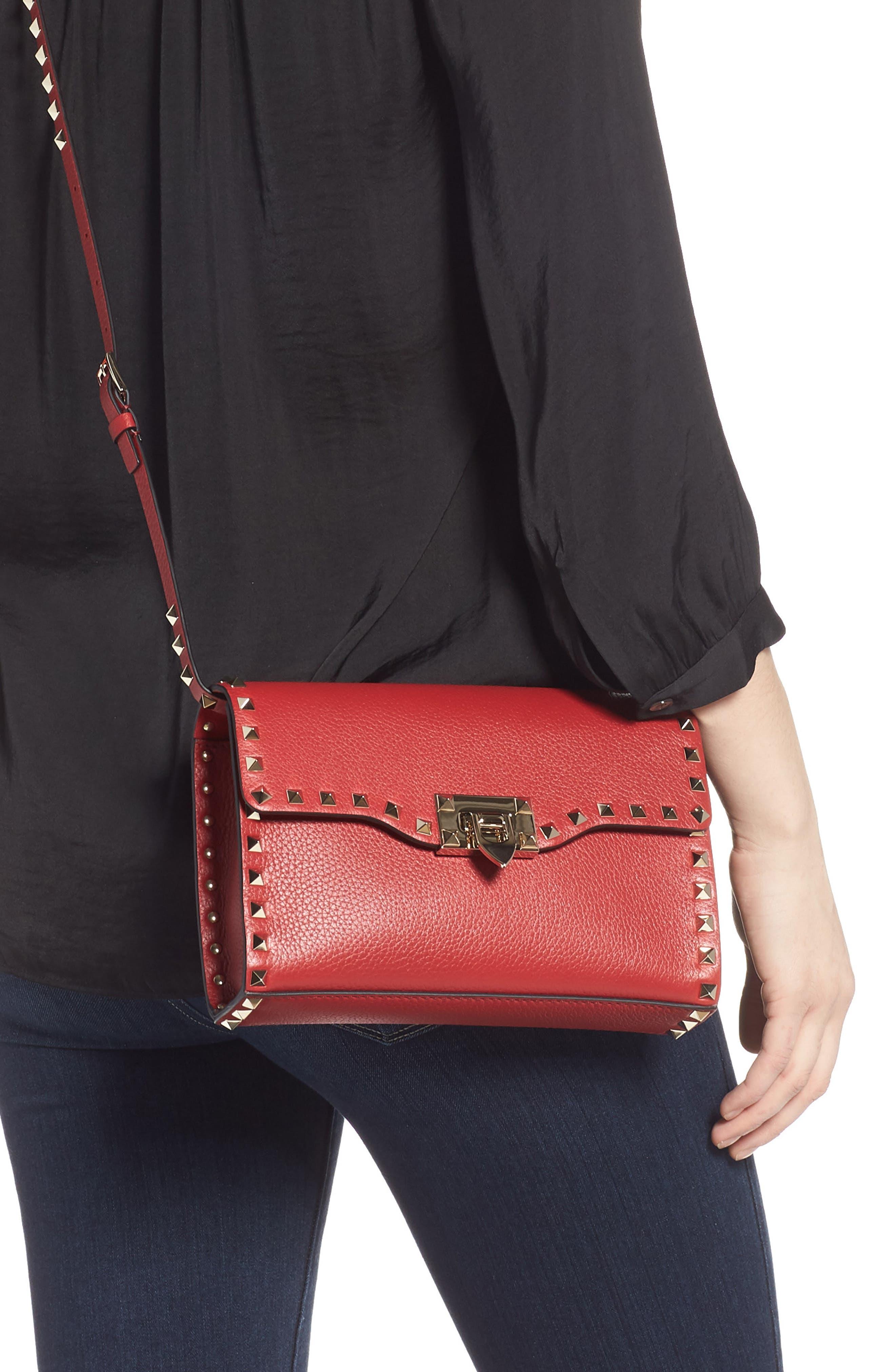Medium Rockstud Leather Crossbody Bag,                             Alternate thumbnail 2, color,                             ROSSO V