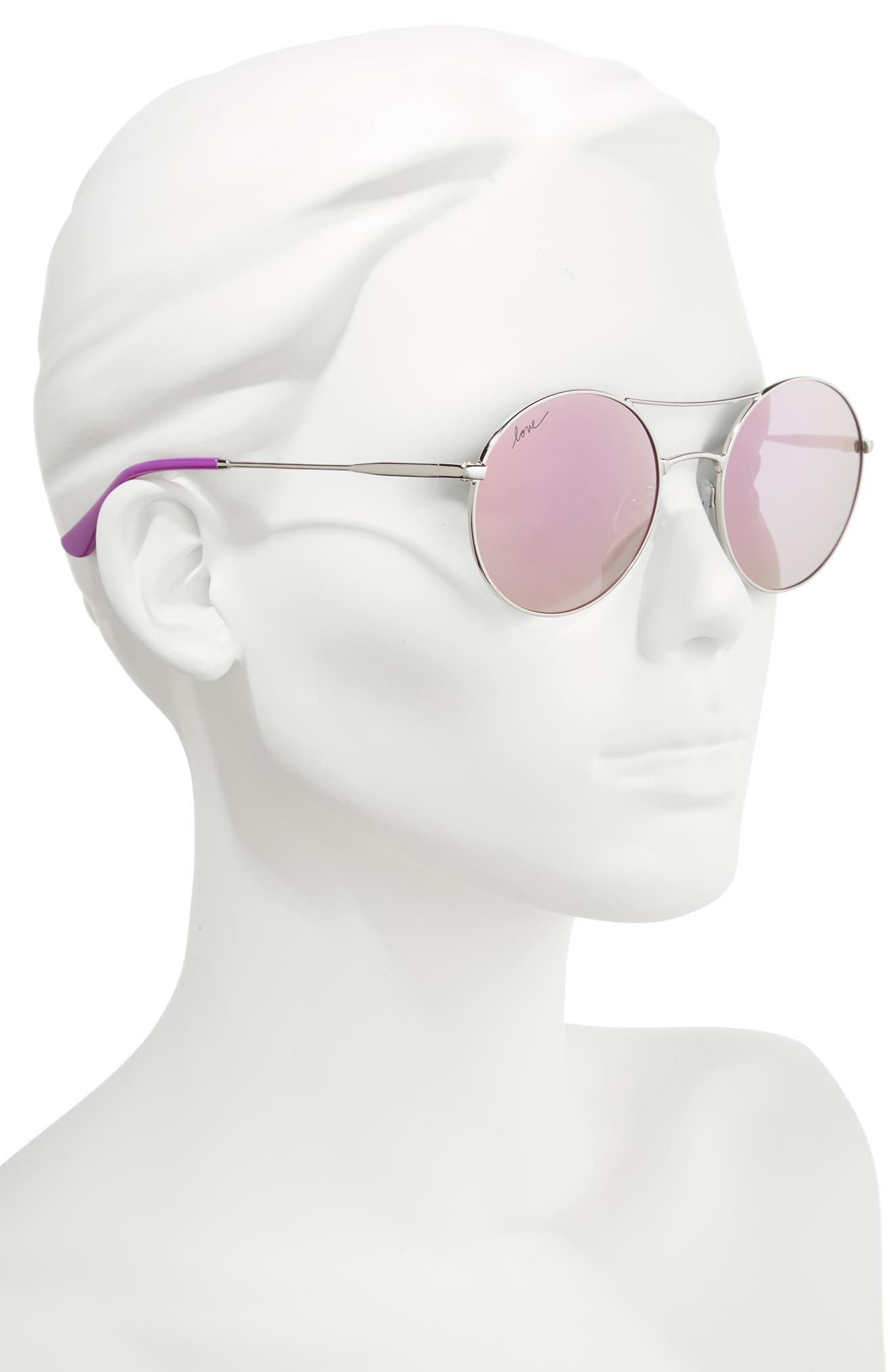 55mm Round Sunglasses,                             Alternate thumbnail 2, color,                             SILVER