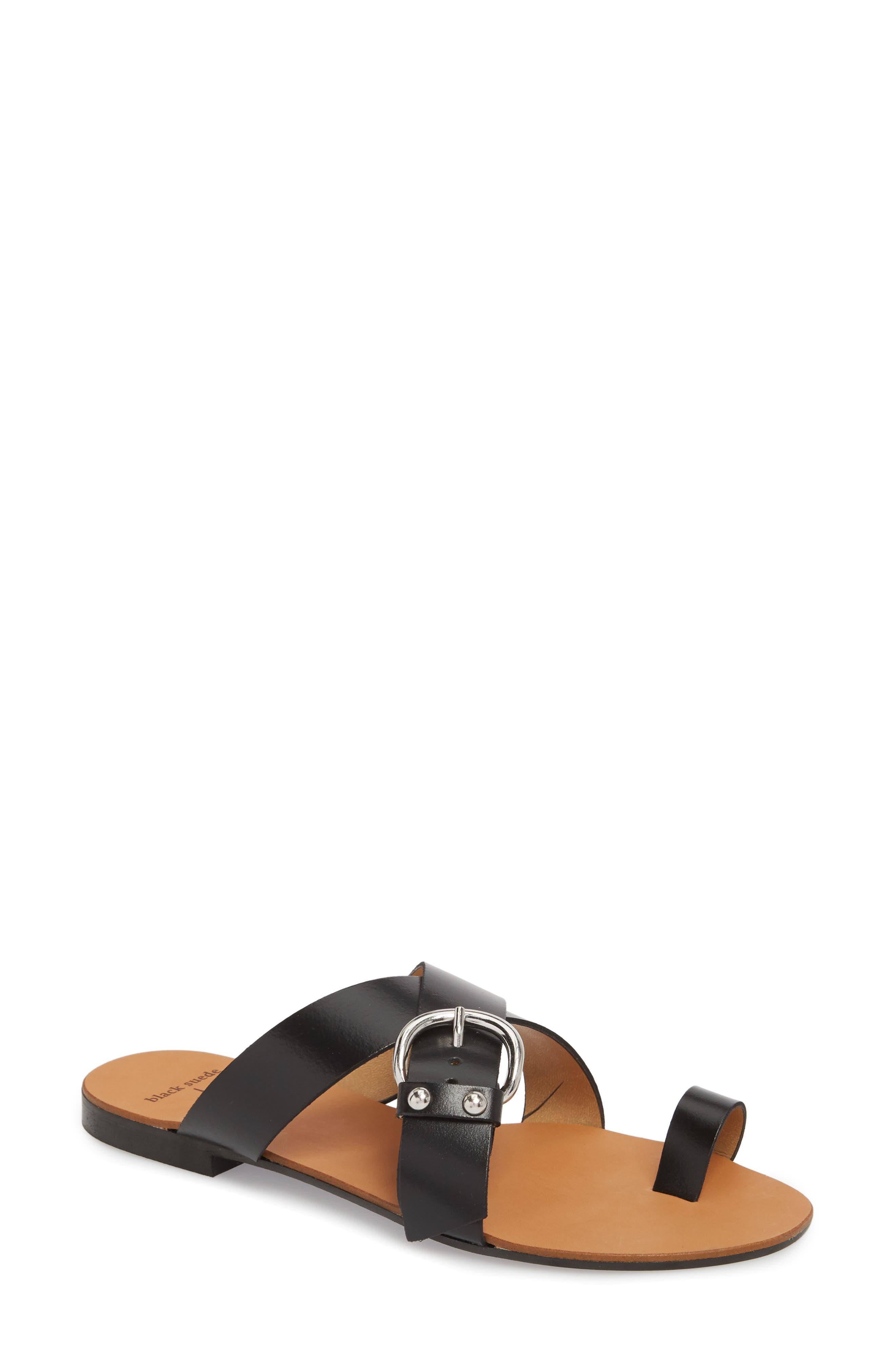 Black Suede Studio Elyse Slide Sandal, Black