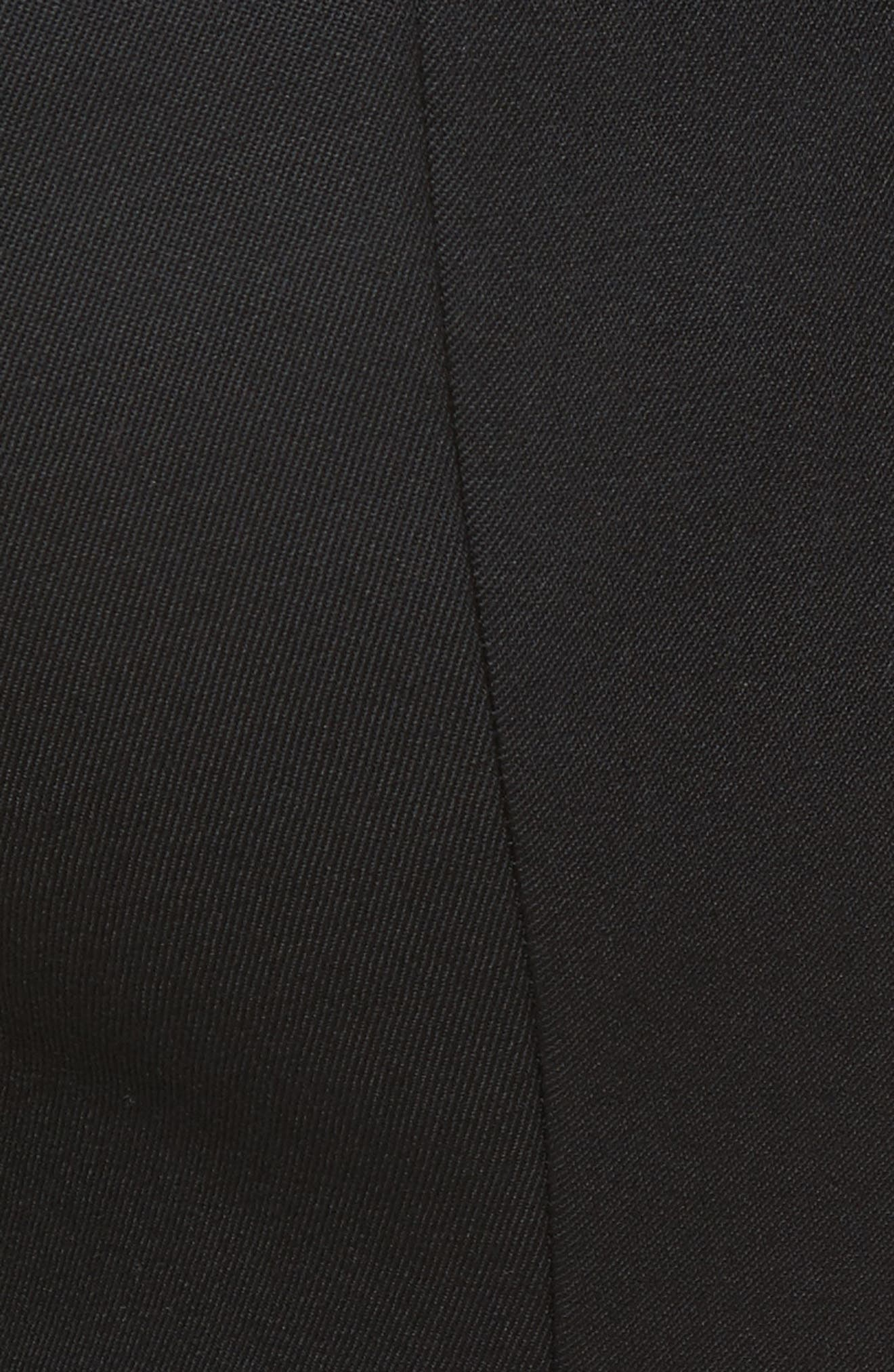 Satin Trim Stretch Wool Gabardine Pants,                             Alternate thumbnail 5, color,                             001