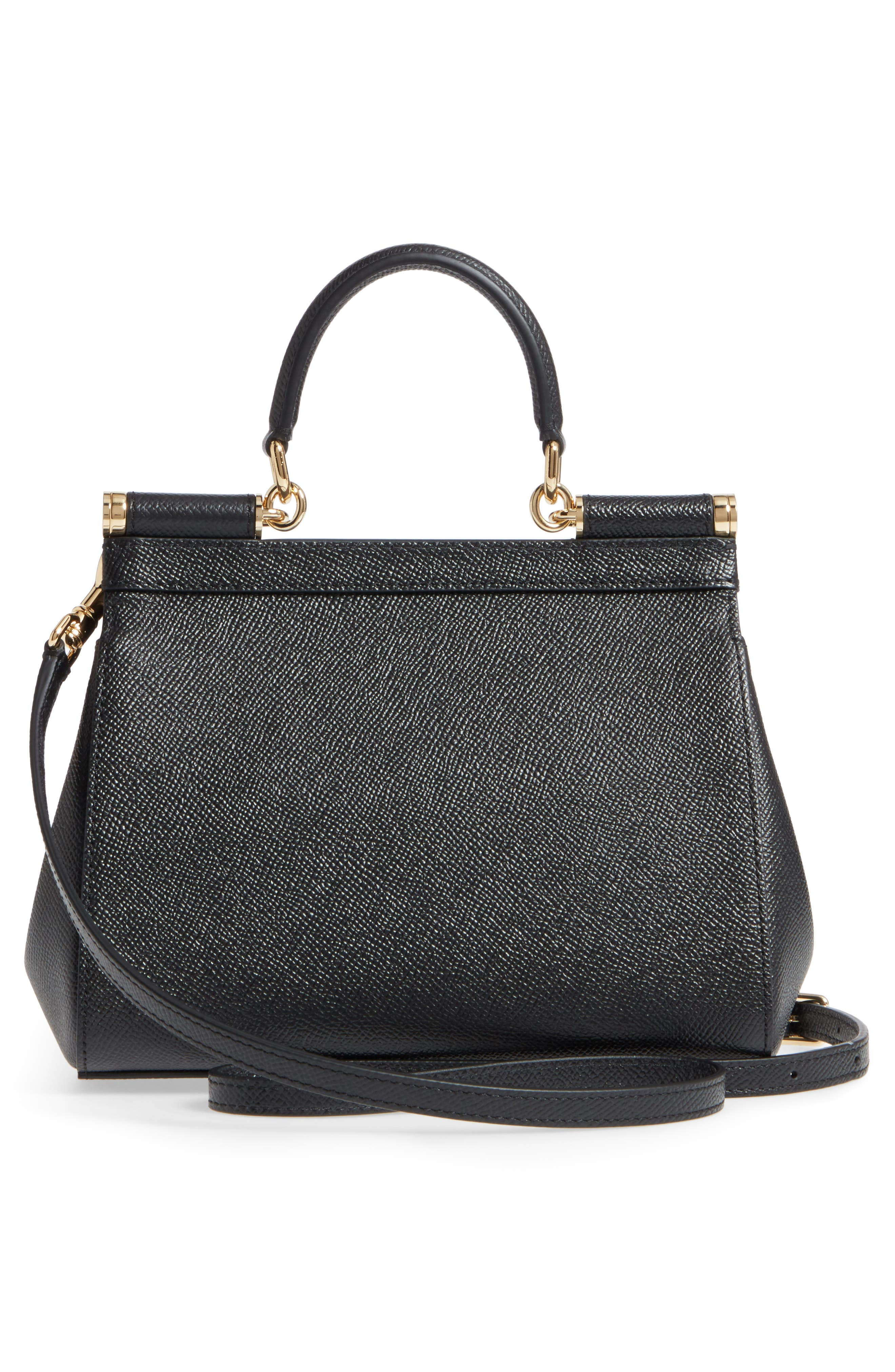 Small Miss Sicily Leather Satchel,                             Alternate thumbnail 3, color,                             002