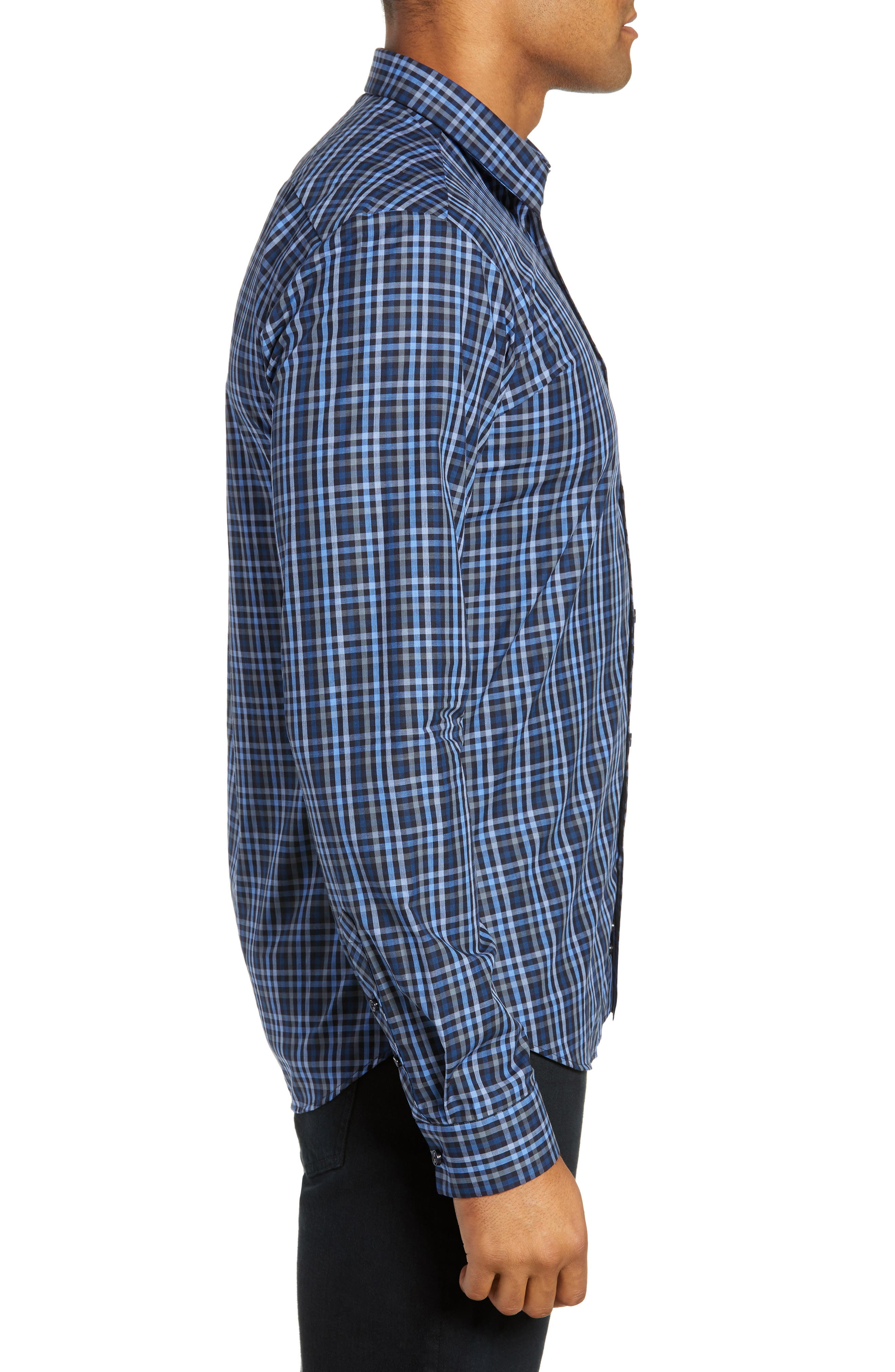 Trim Fit Sport Shirt,                             Alternate thumbnail 4, color,                             NAVY - BLUE MULTI CHECK
