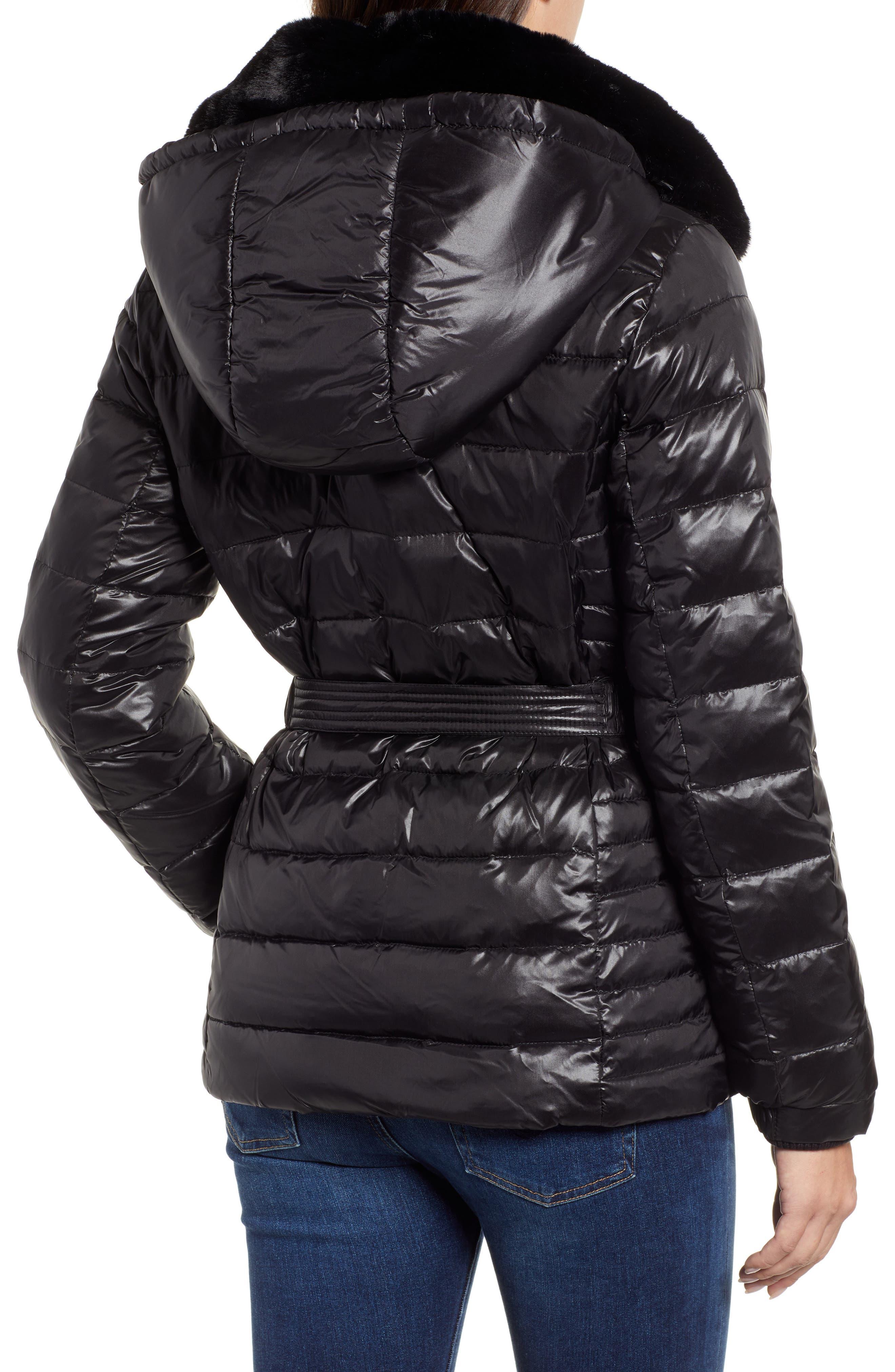 Faux Fur Puffer Jacket,                             Alternate thumbnail 2, color,                             001