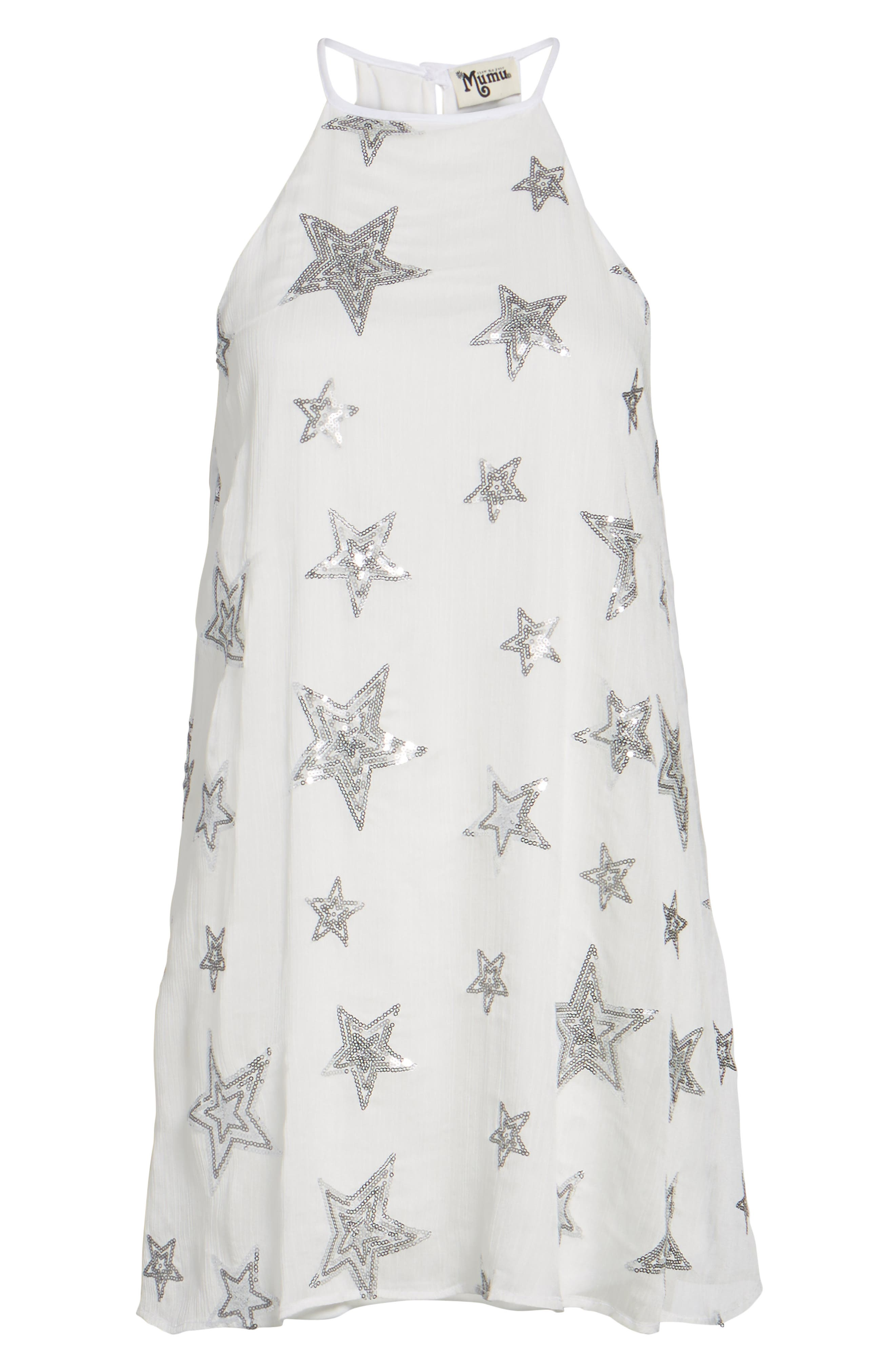 Gomez Embroidered Shift Dress,                             Alternate thumbnail 6, color,                             100