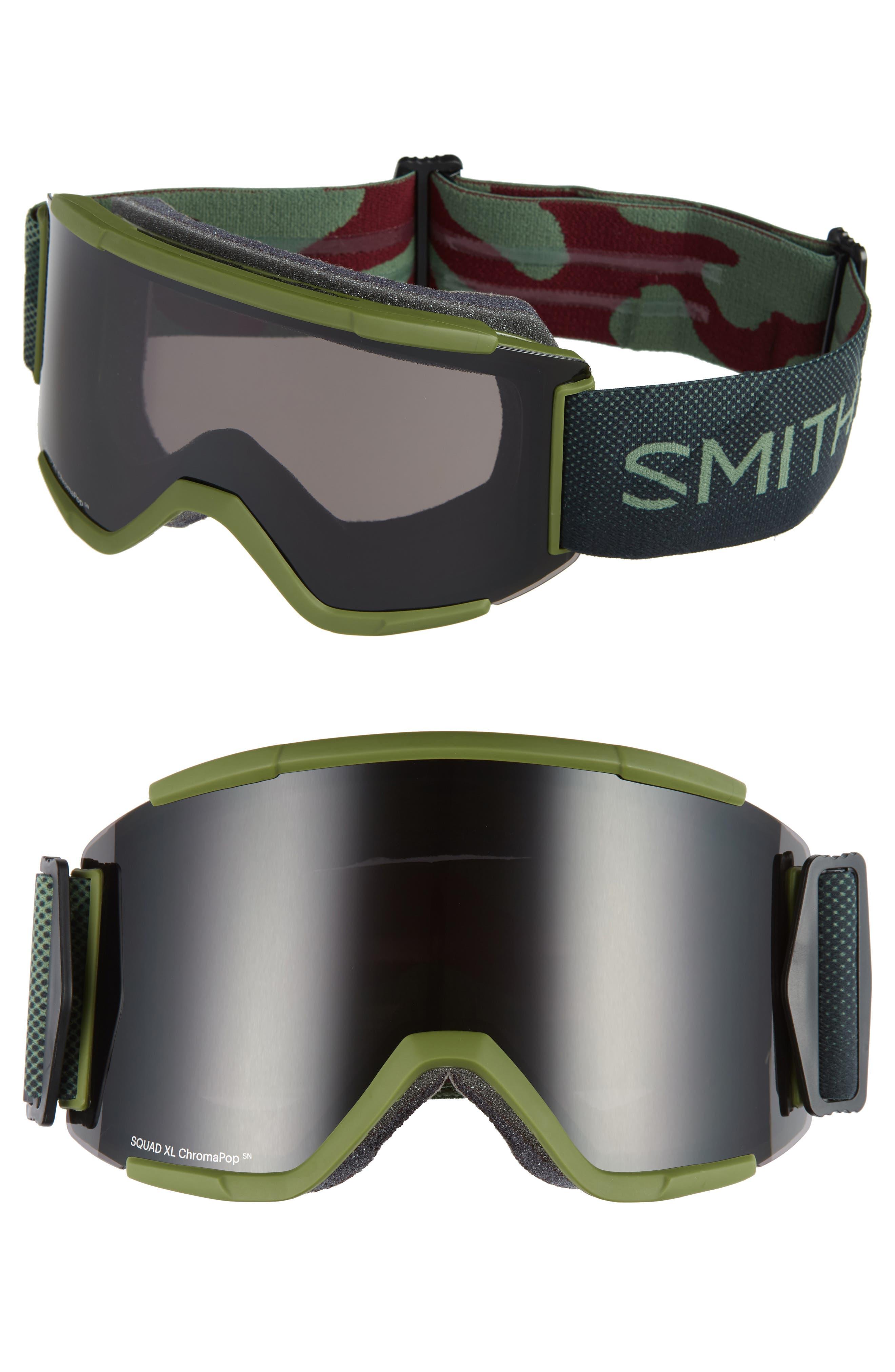 Squad XL Chromapop 185mm Snow Goggles,                         Main,                         color, MOSS SURPLUS