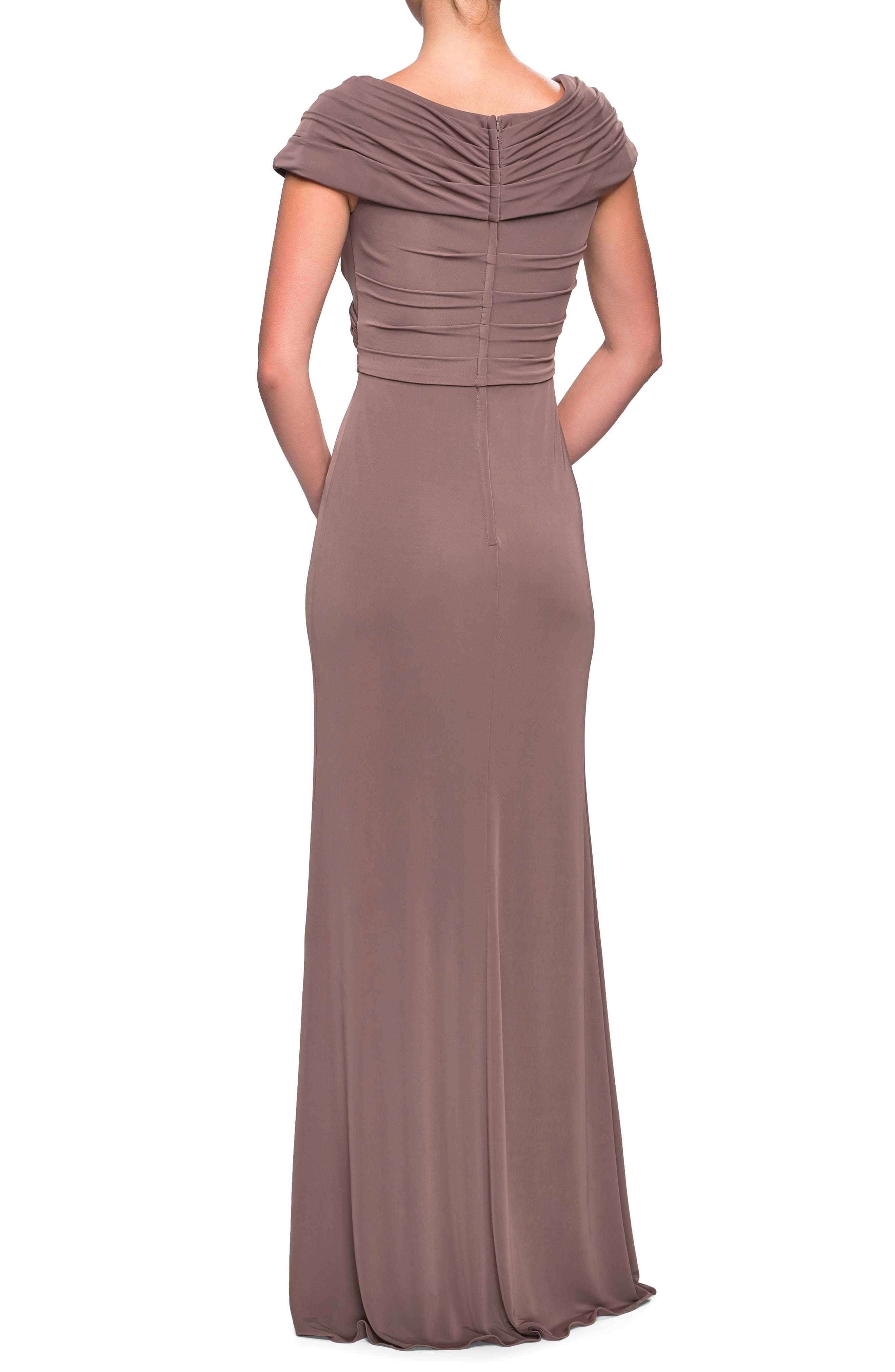 LA FEMME,                             Ruched Jersey Gown,                             Alternate thumbnail 2, color,                             COCOA