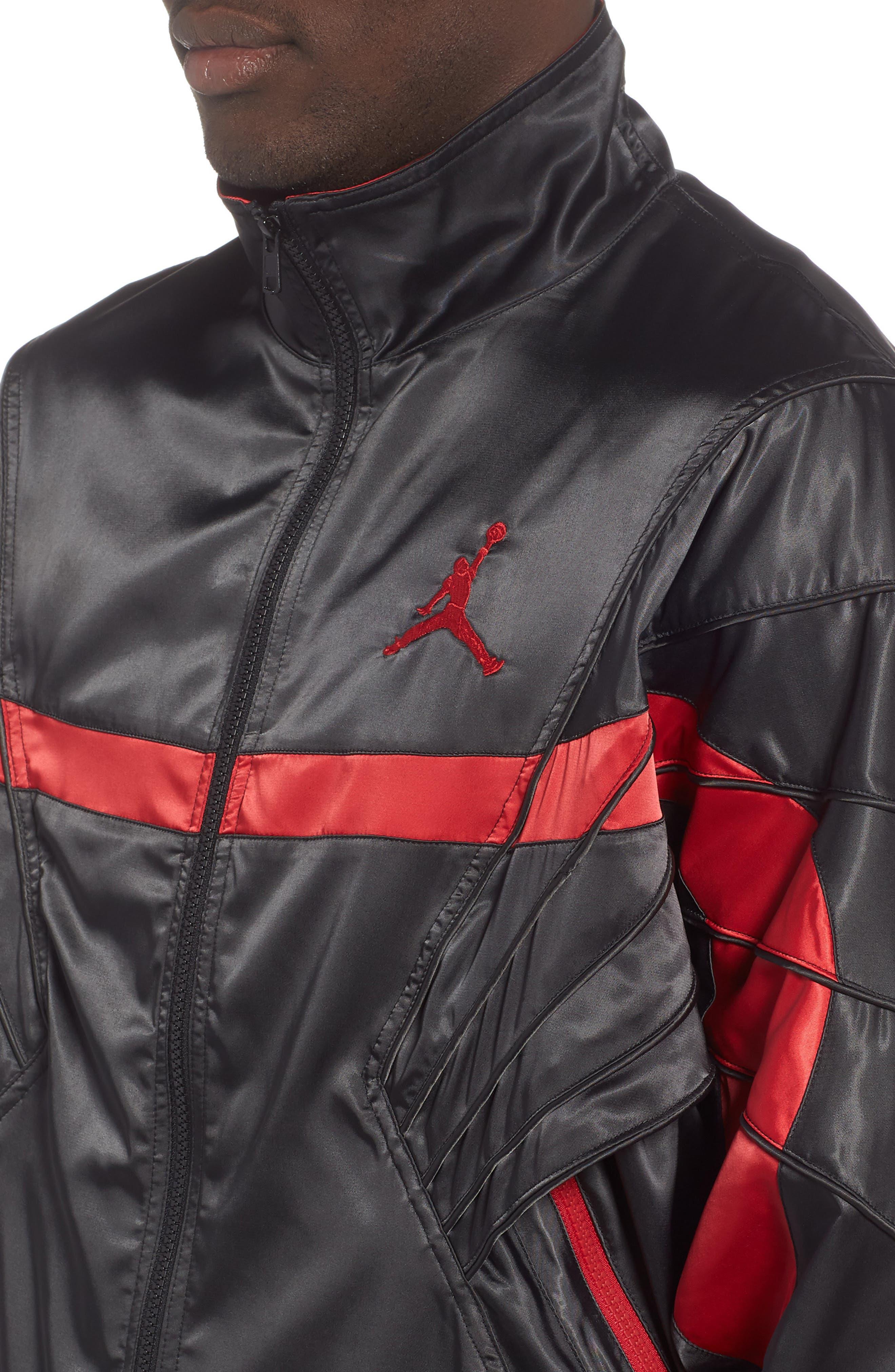 AJ5 Satin Track Jacket,                             Alternate thumbnail 4, color,                             BLACK