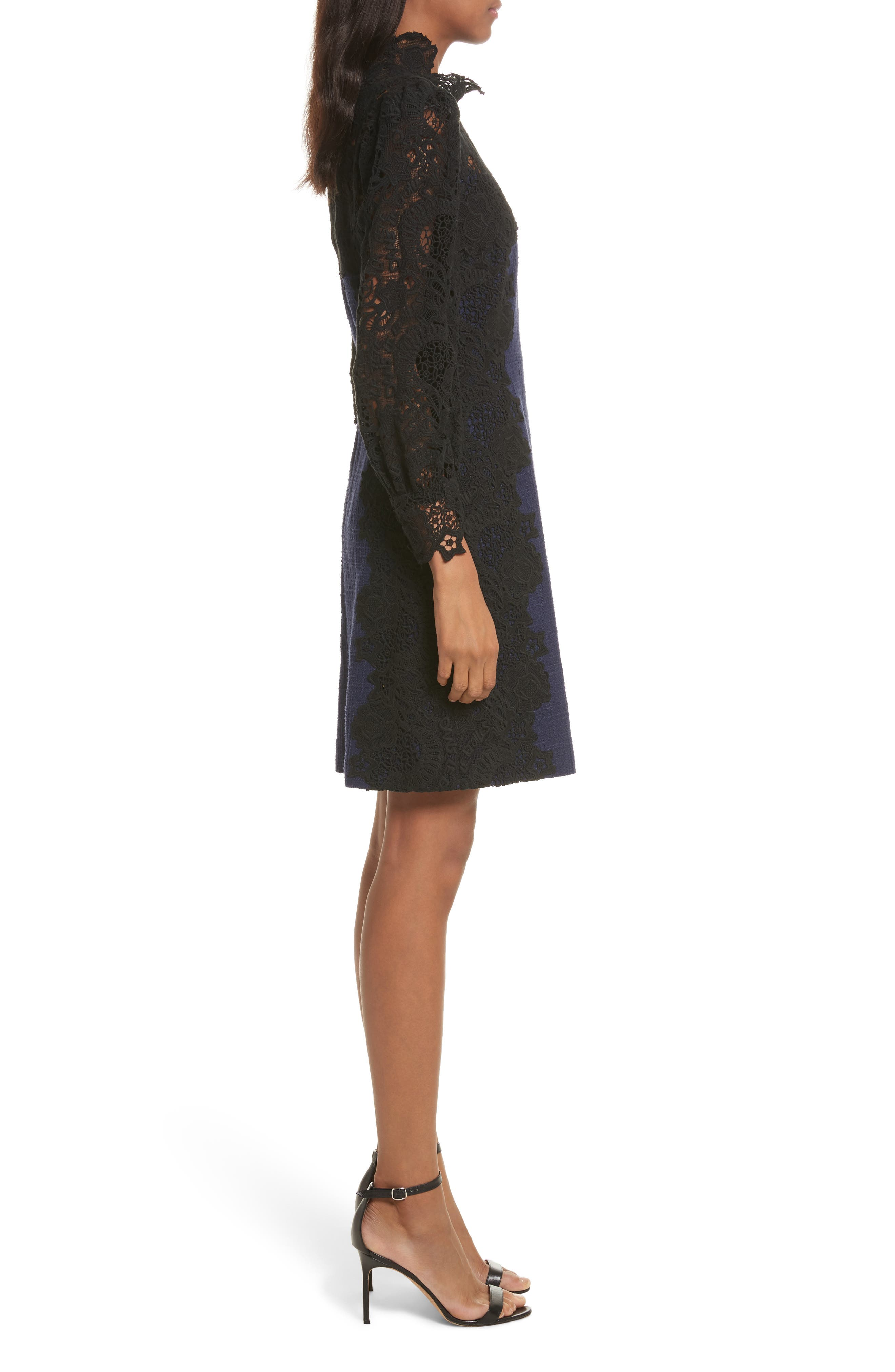Tweed & Lace Dress,                             Alternate thumbnail 3, color,                             544
