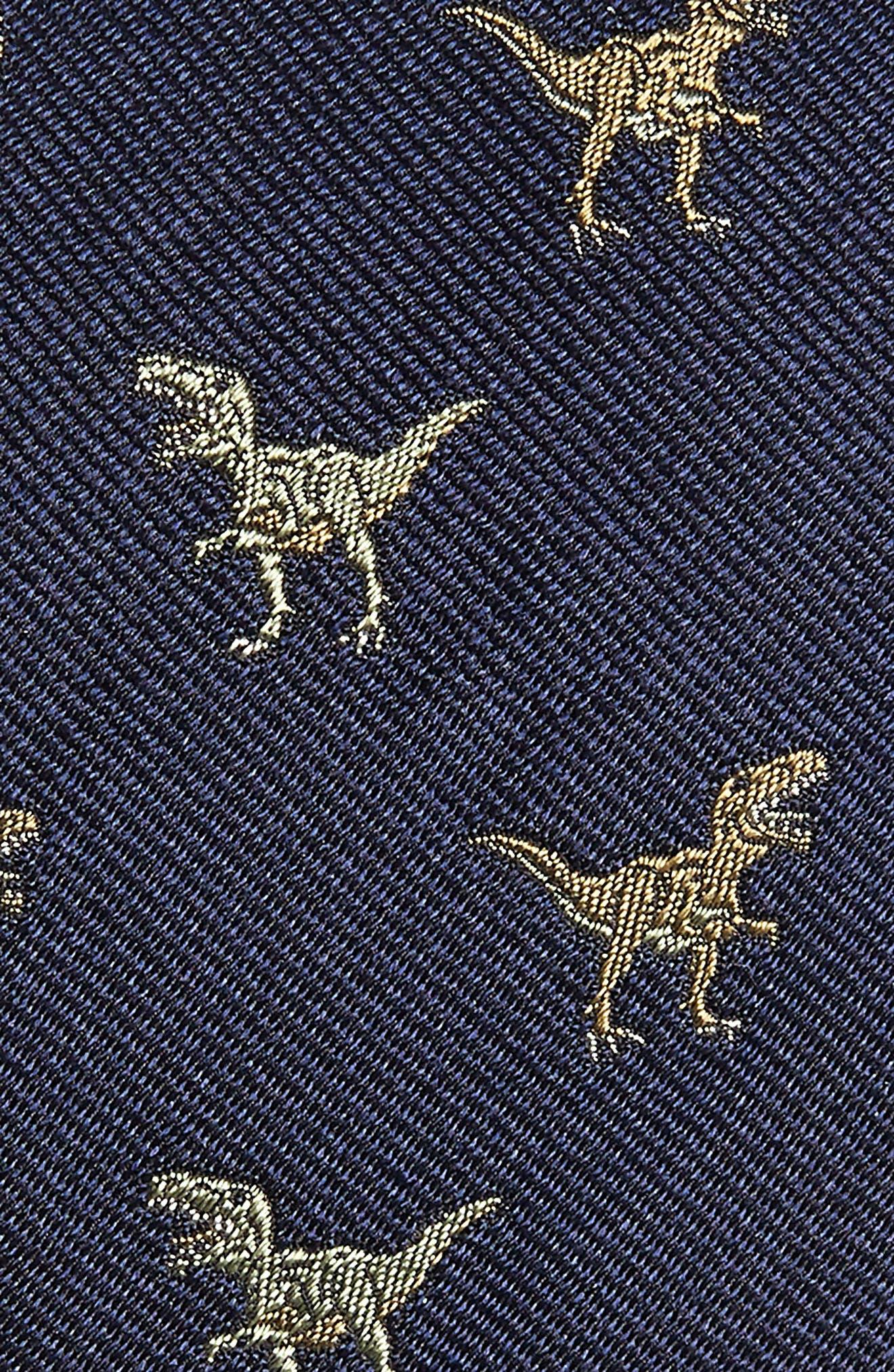 Shadow T-Rex Print Silk Tie,                             Alternate thumbnail 2, color,                             410