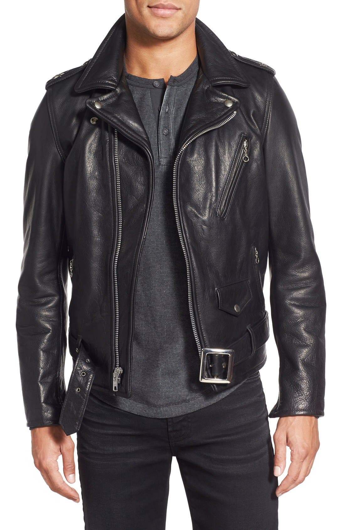 '50s Oil Tanned Cowhide Leather Moto Jacket,                         Main,                         color, BLACK