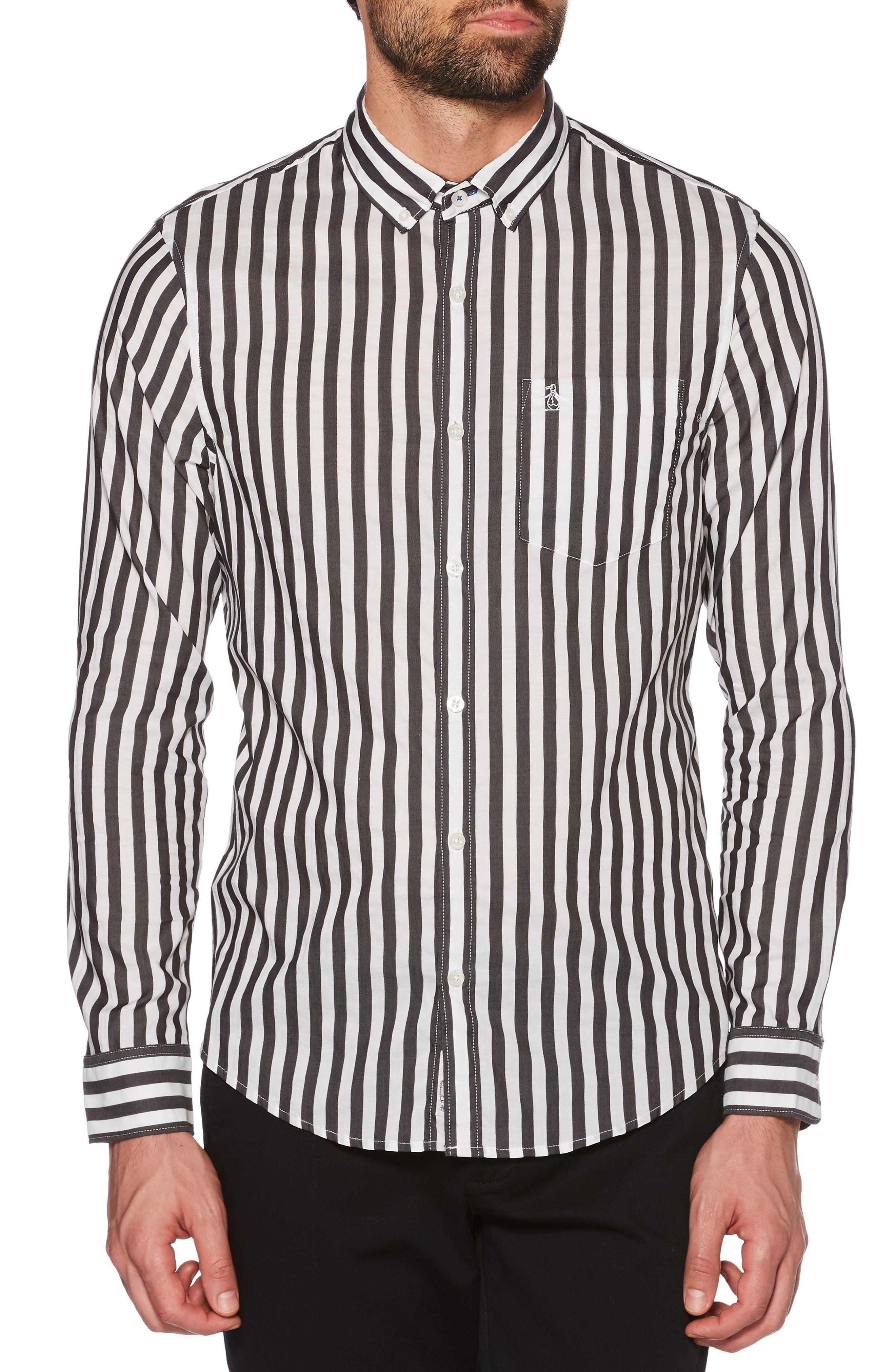 Slim Fit Striped Sport Shirt,                             Main thumbnail 1, color,                             010