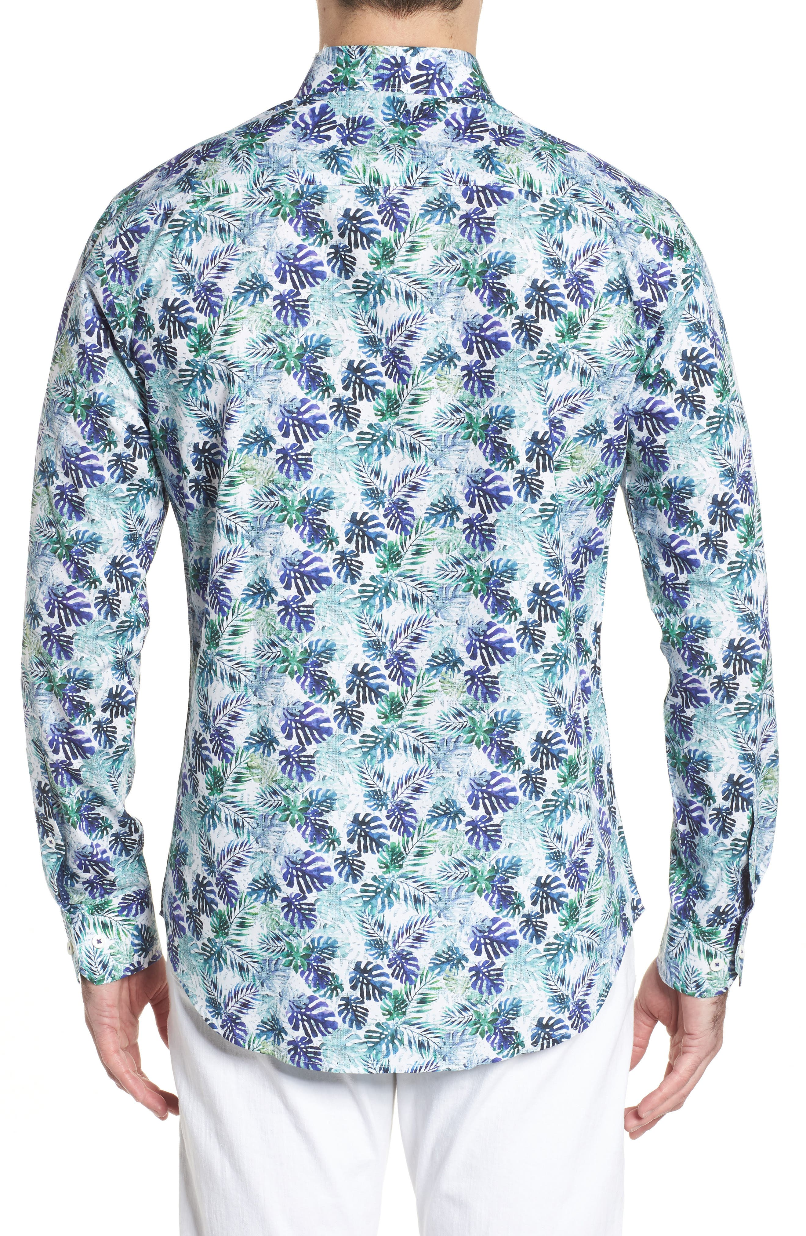 Shaped Fit Blue Leaves Sport Shirt,                             Alternate thumbnail 2, color,                             504