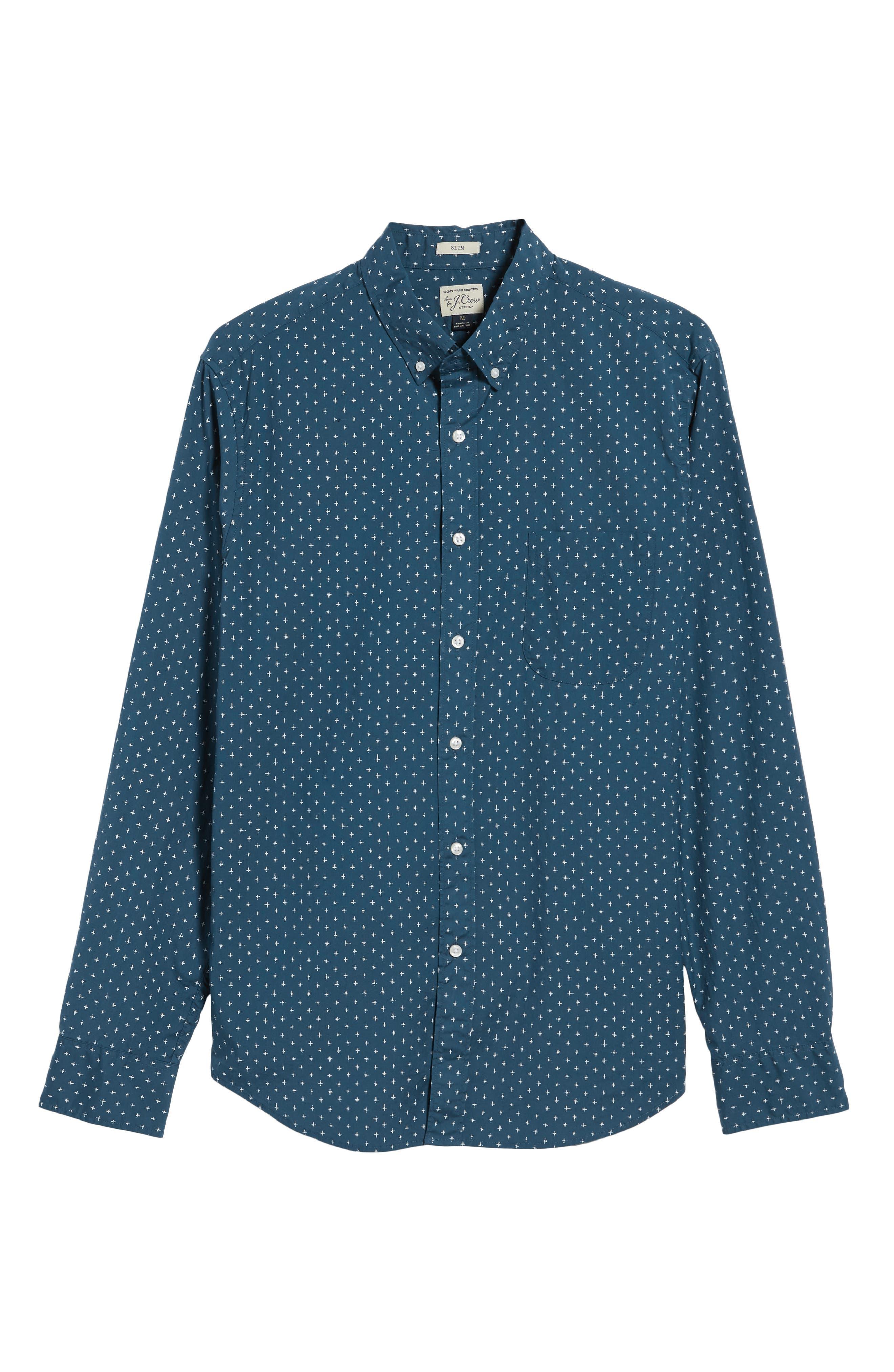 Slim Fit Stretch Secret Wash Crosshatch Print Sport Shirt,                             Alternate thumbnail 6, color,                             CARAVAN BLUE