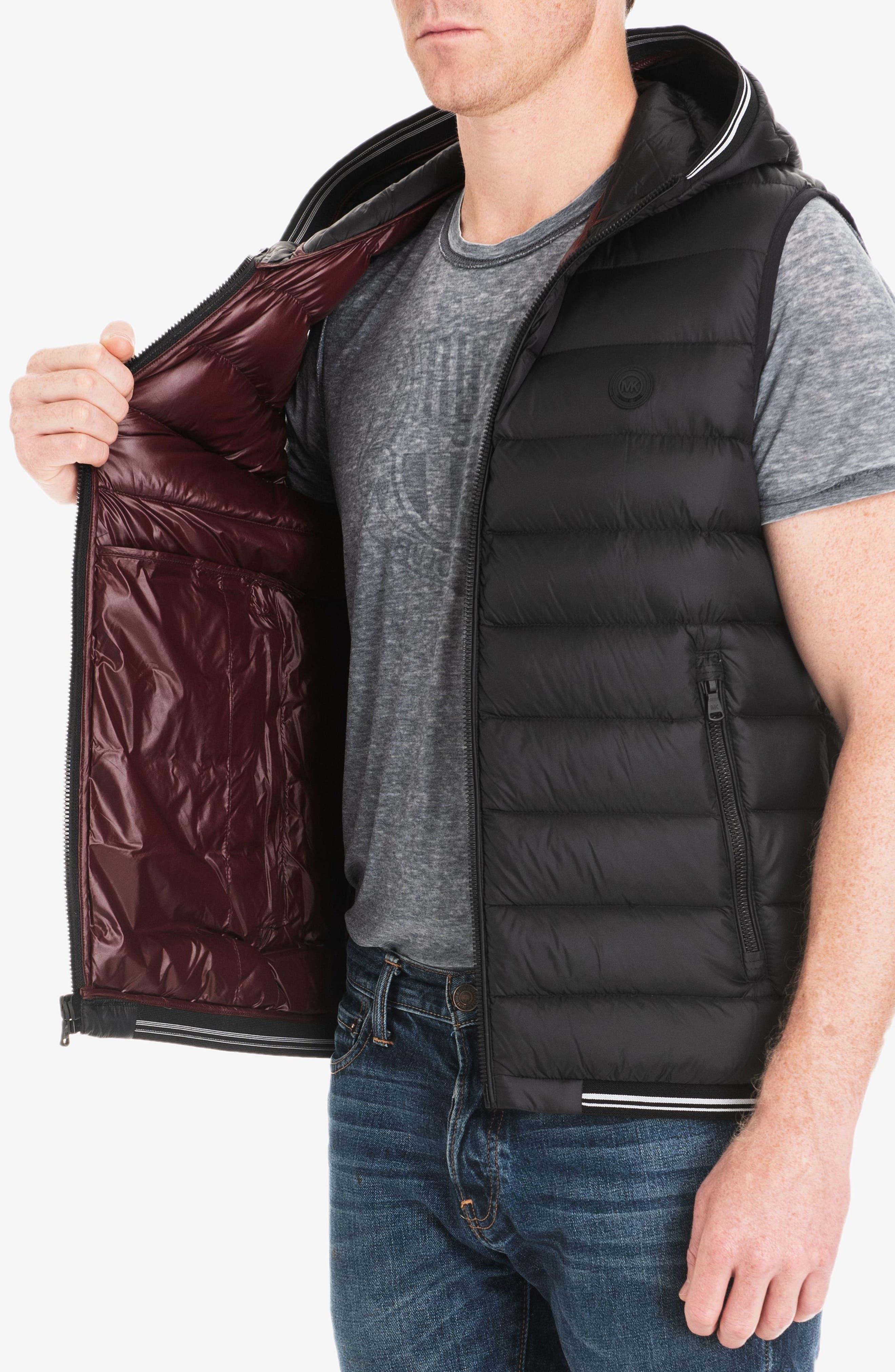 Locke Hooded Quilted Vest,                             Alternate thumbnail 4, color,                             BLACK